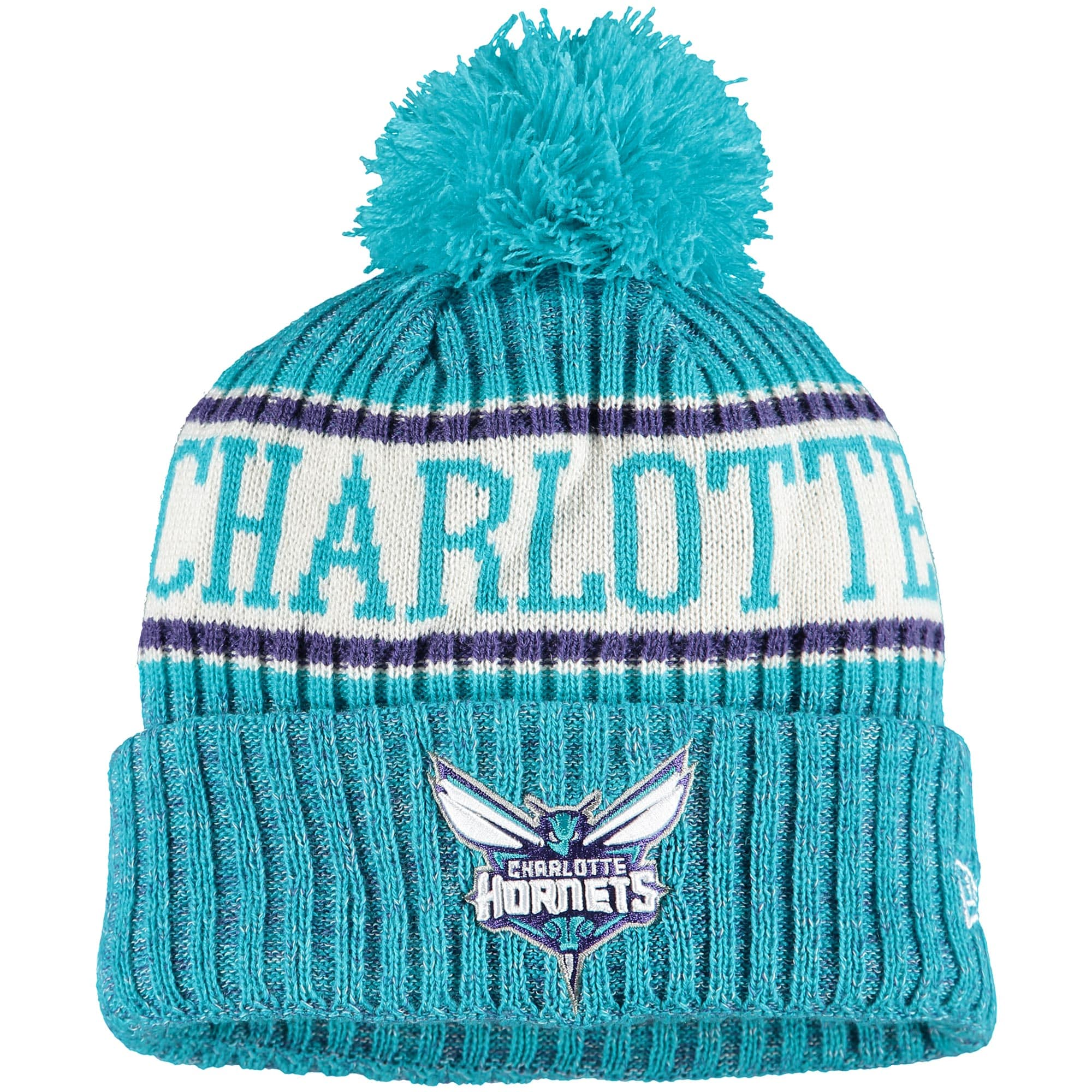 Charlotte Hornets New Era Sport Cuffed Knit Hat with Pom - Teal