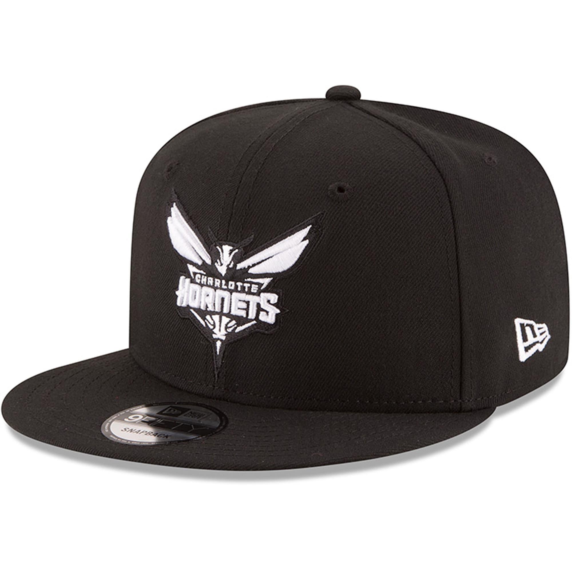 Charlotte Hornets New Era Black & White Logo 9FIFTY Adjustable Snapback Hat - Black