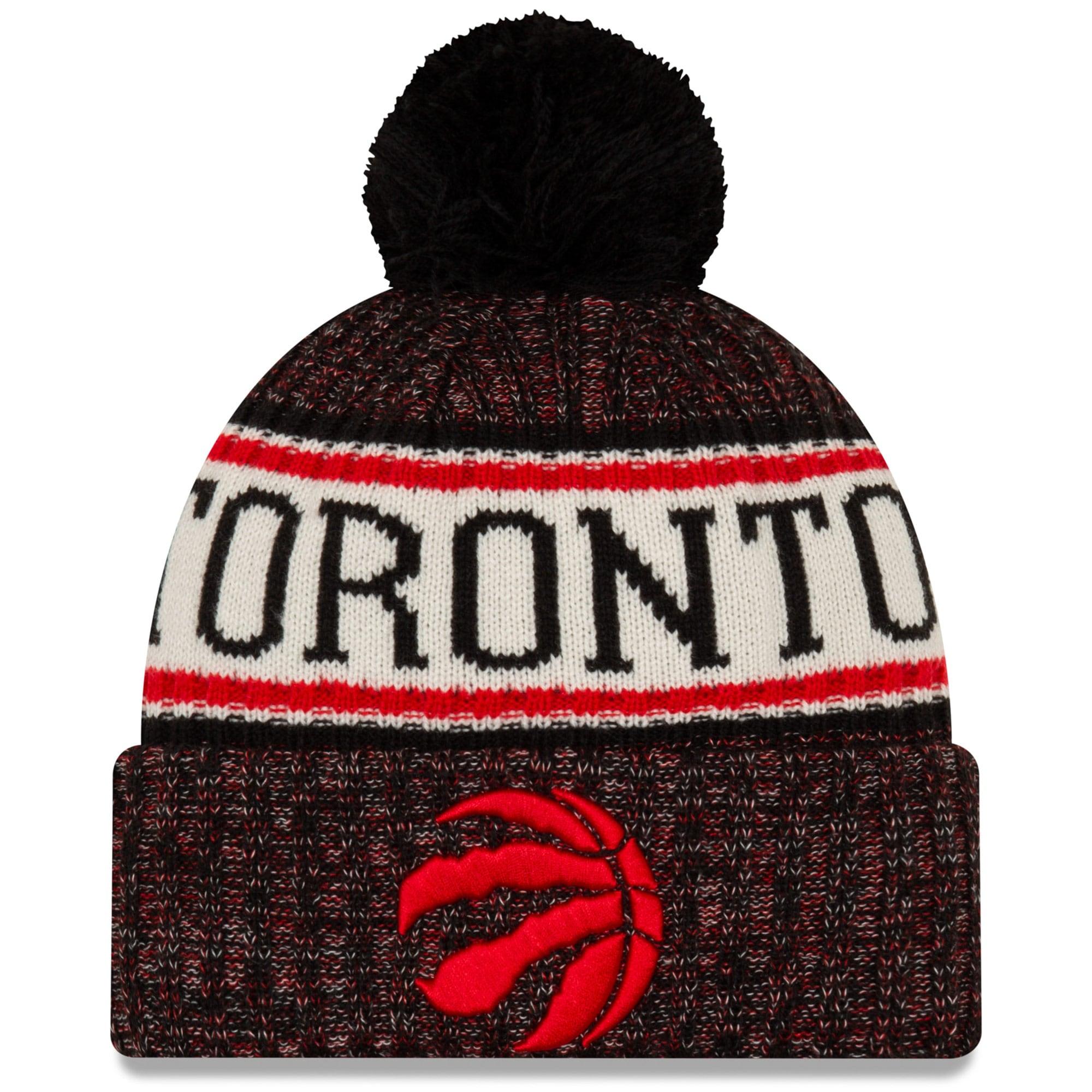 Toronto Raptors New Era Sport Cuffed Knit Hat with Pom - Black