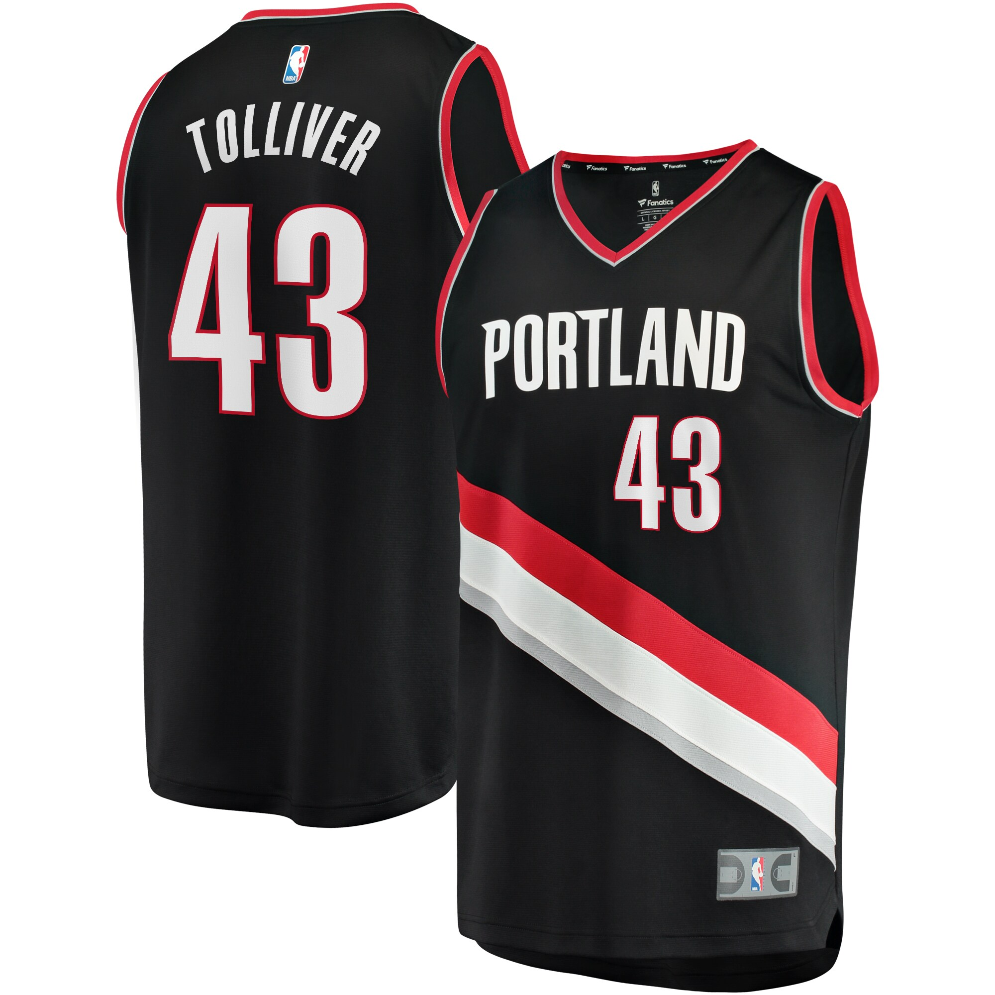 Anthony Tolliver Portland Trail Blazers Fanatics Branded Fast Break Replica Jersey Black - Icon Edition