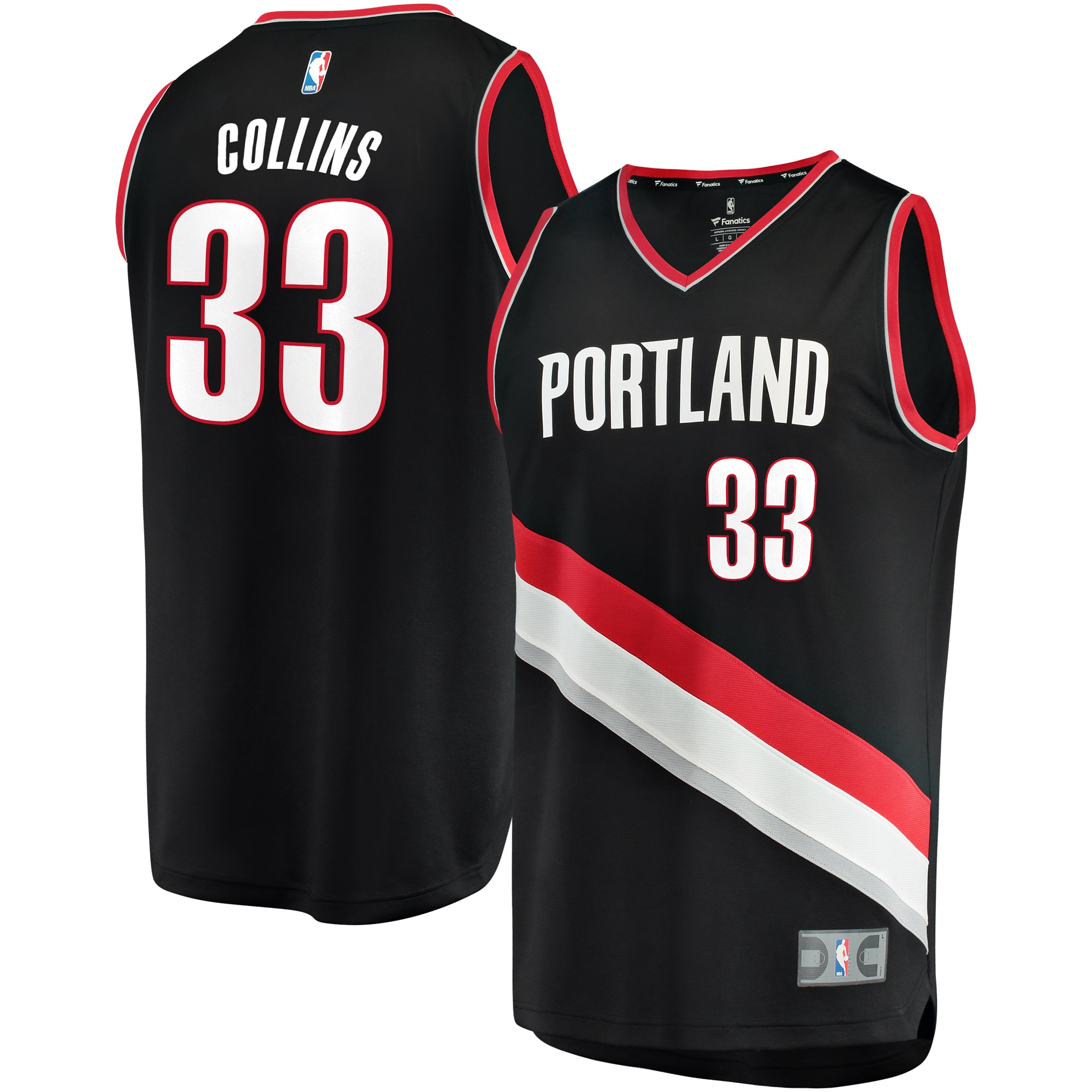 Zach Collins Portland Trail Blazers Fanatics Branded Fast Break Replica Team Color Player Jersey Black - Icon Edition