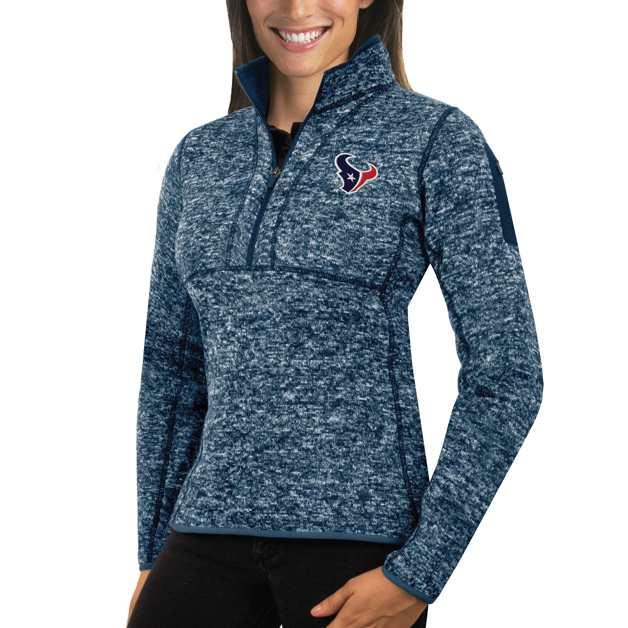 Houston Texans Antigua Women's Fortune Half-Zip Sweater - Heather Navy