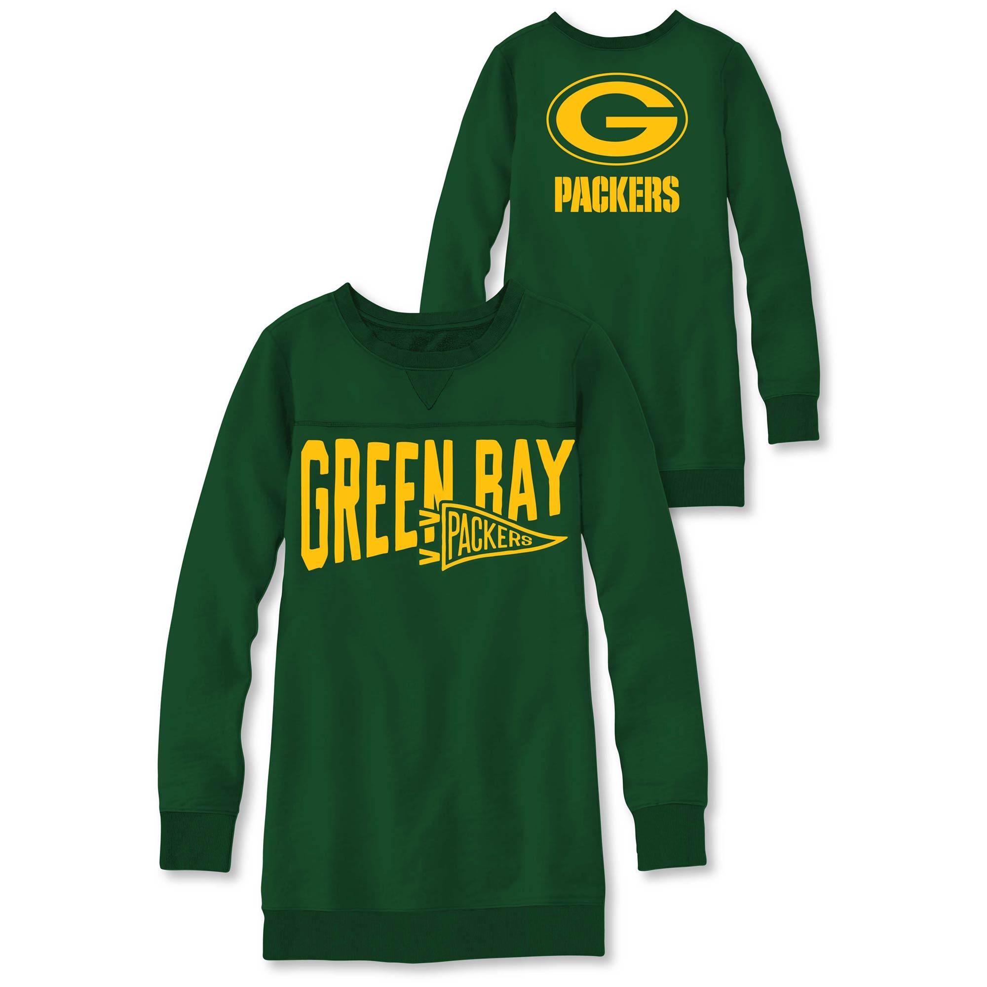 Green Bay Packers Junk Food Women's Dual Threat Fleece Dress - Green