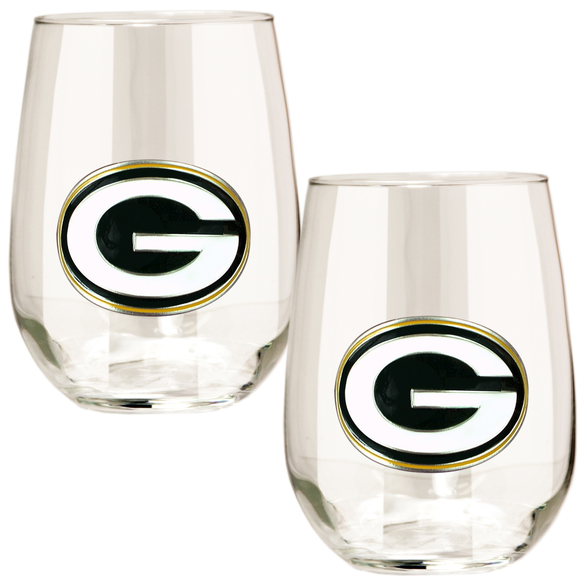 Green Bay Packers 15oz. Stemless Wine Glass Set