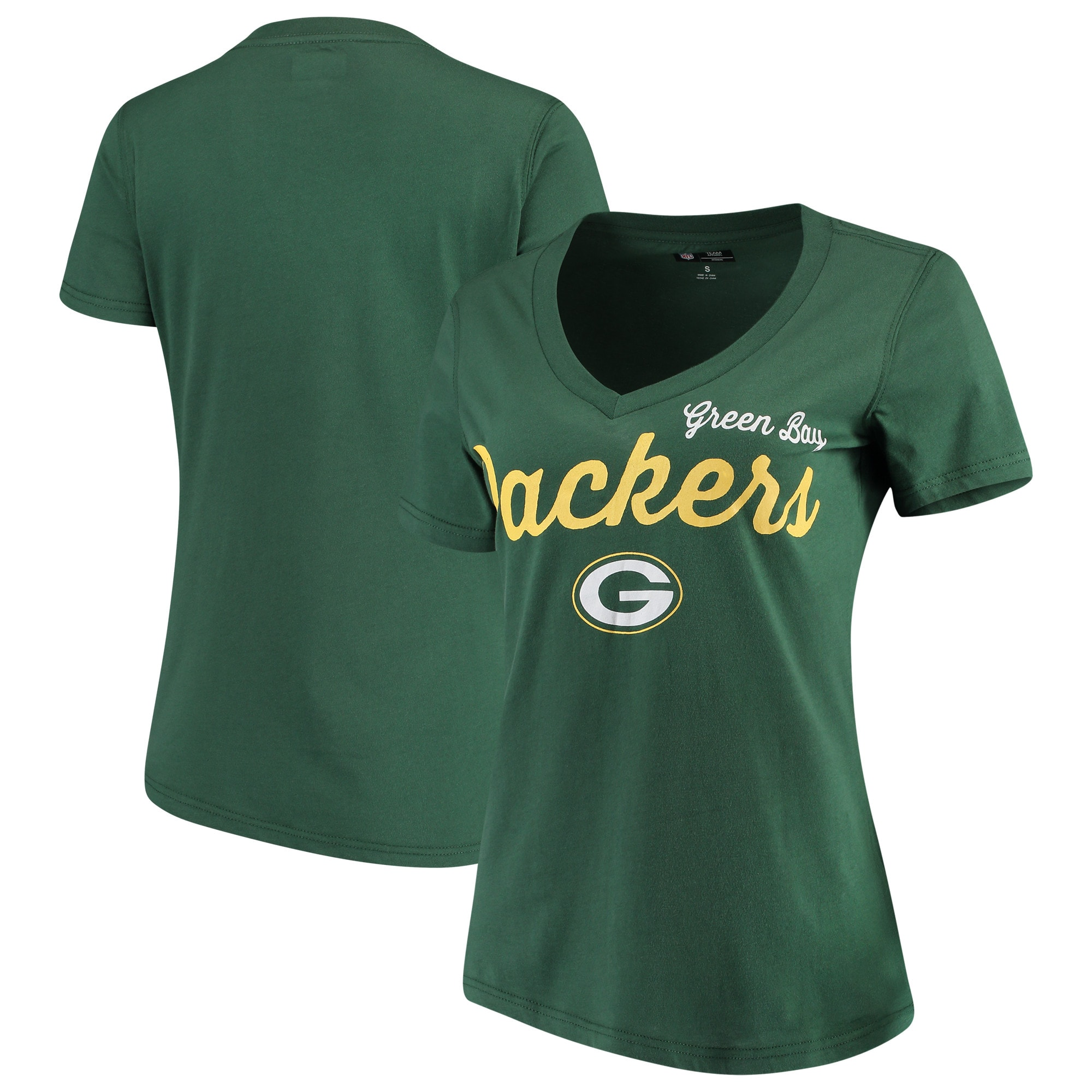 Green Bay Packers G-III 4Her by Carl Banks Women's Post Season V-Neck T-Shirt - Green