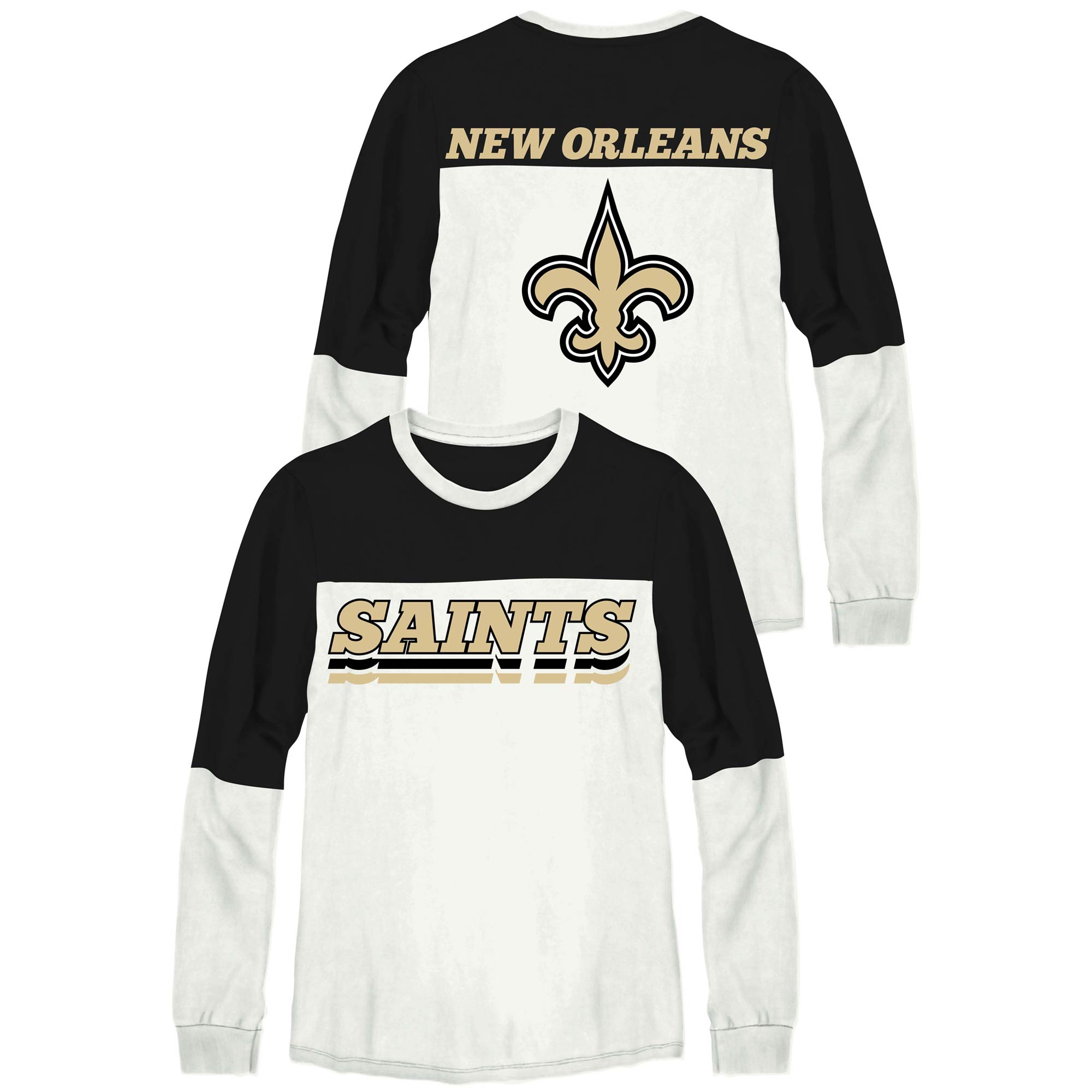 New Orleans Saints Junk Food Women's Comeback Long Sleeve T-Shirt - Black/White