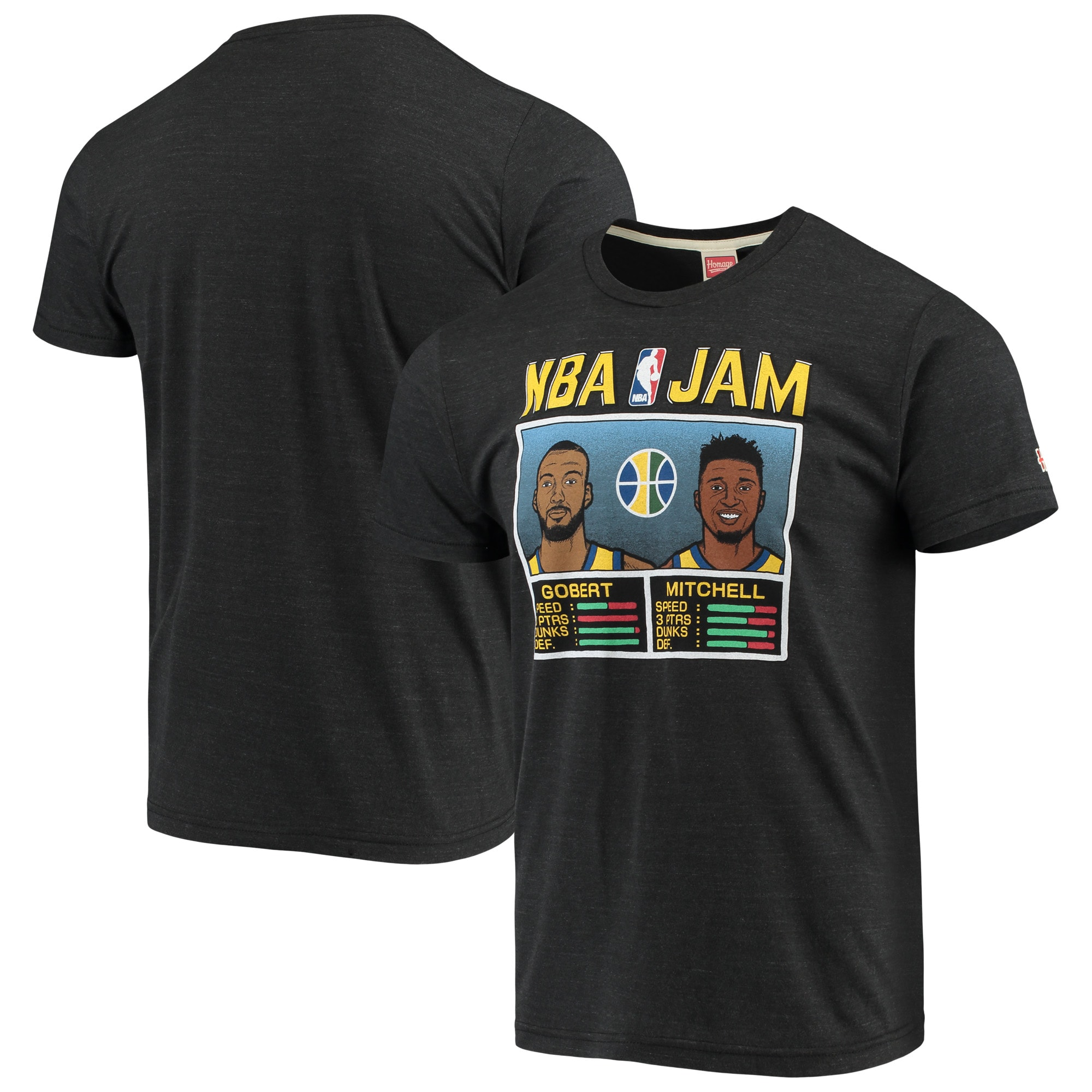Donovan Mitchell & Rudy Gobert Utah Jazz NBA Jam T-Shirt - Charcoal
