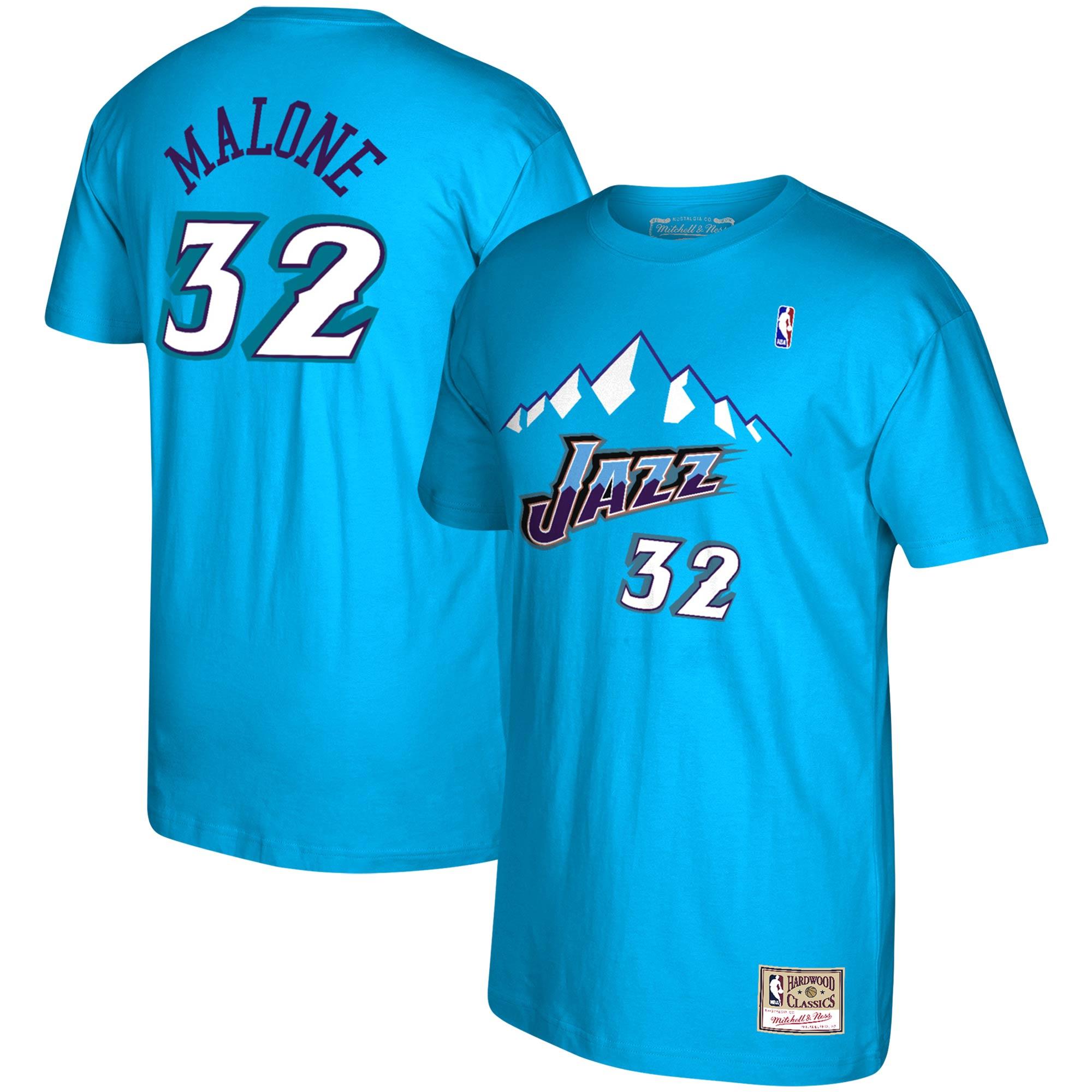 Karl Malone Utah Jazz Mitchell & Ness Reload Name & Number T-Shirt - Blue