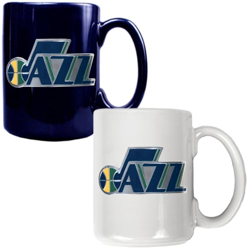 Utah Jazz 15oz. Coffee Mug Set - Navy/White