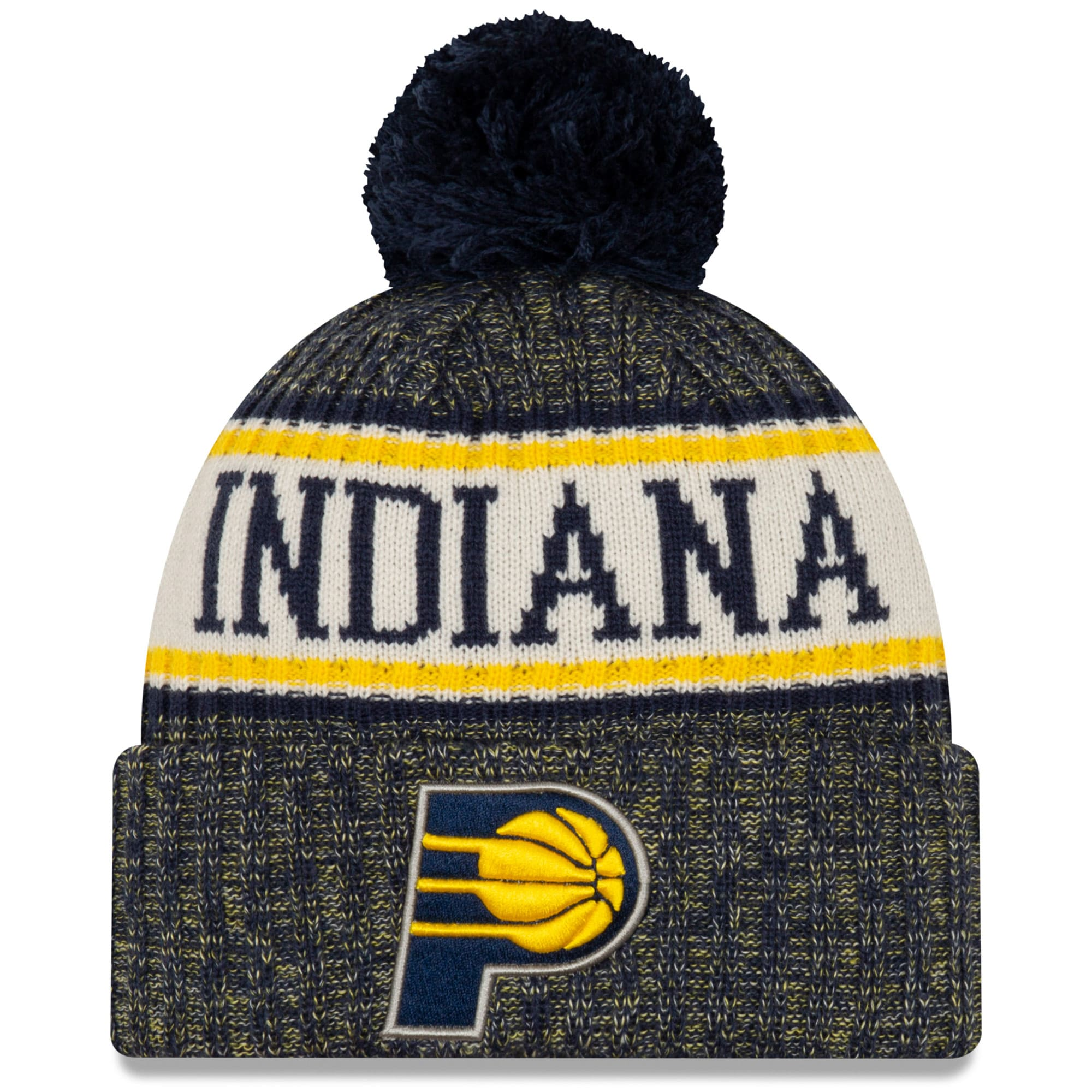 Indiana Pacers New Era Sport Cuffed Knit Hat with Pom - Navy