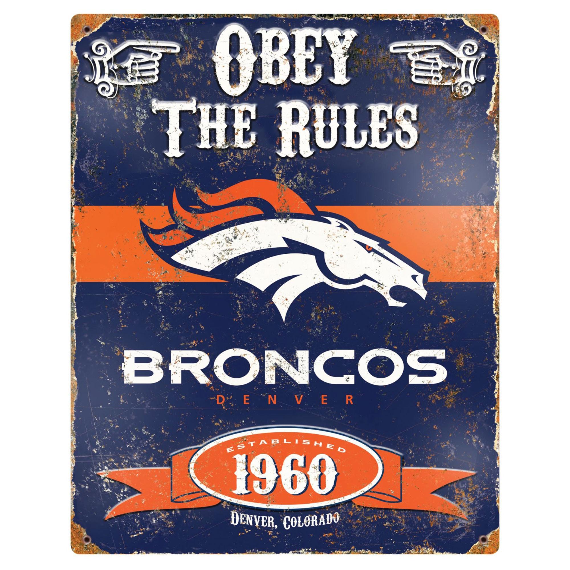 Denver Broncos 14.5'' x 11.5'' Embossed Metal Sign