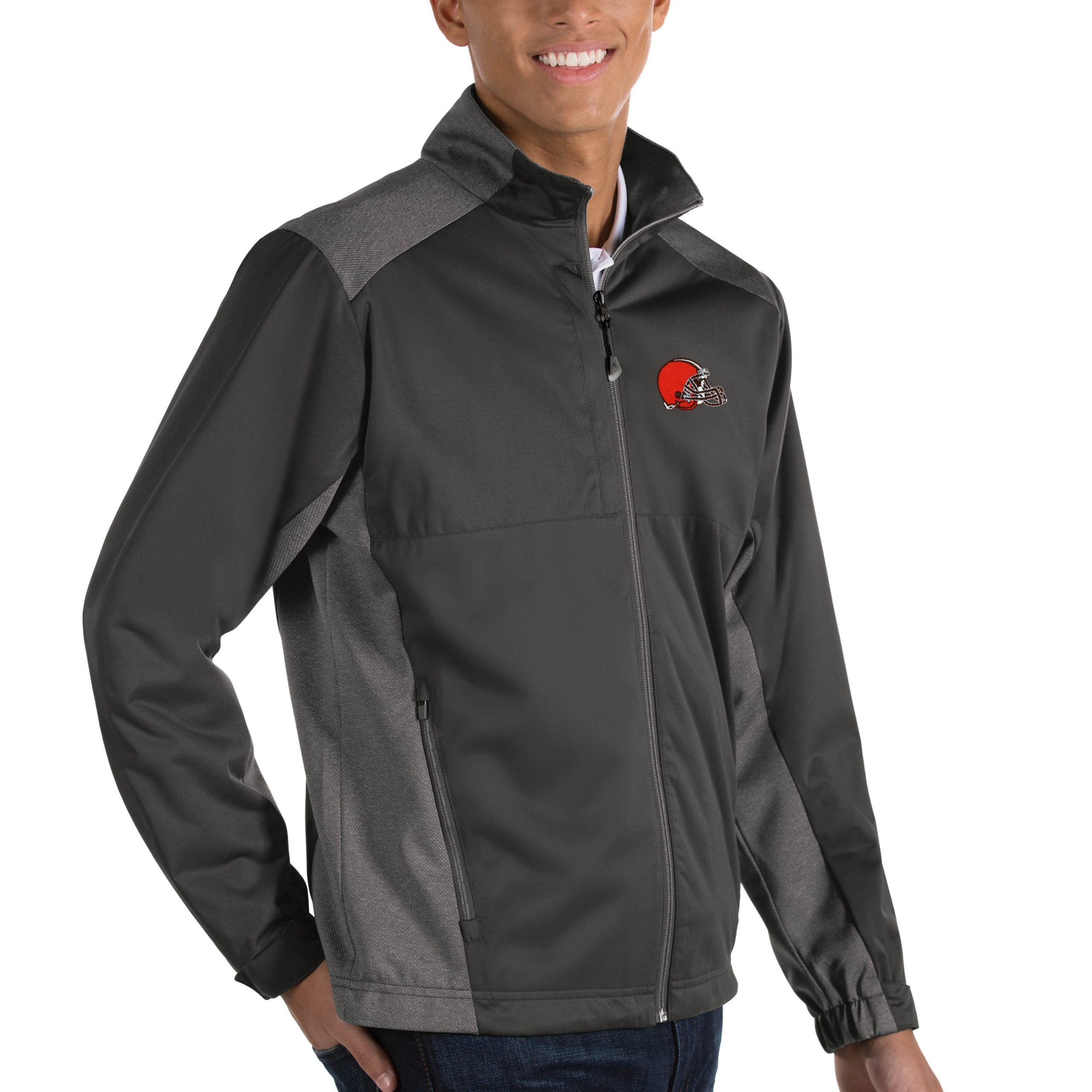 Cleveland Browns Antigua Revolve Big & Tall Full-Zip Jacket - Heather Charcoal