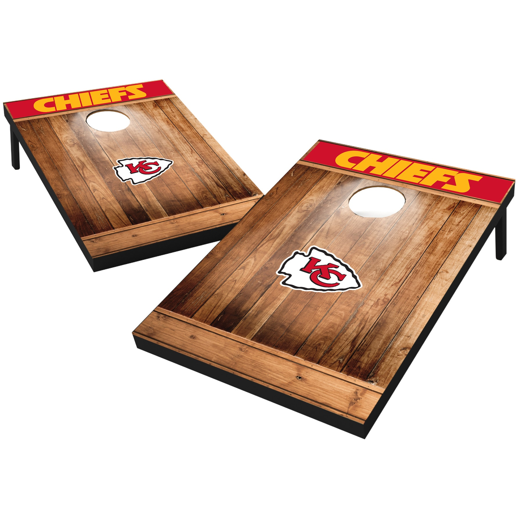 Kansas City Chiefs 2' x 3' Wood Design Cornhole Board Tailgate Toss Set