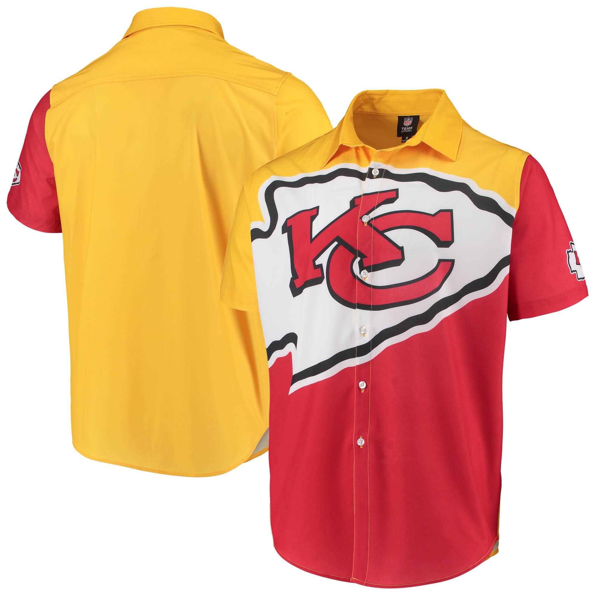 Kansas City Chiefs Big Logo Button-Up Woven T-Shirt - Red