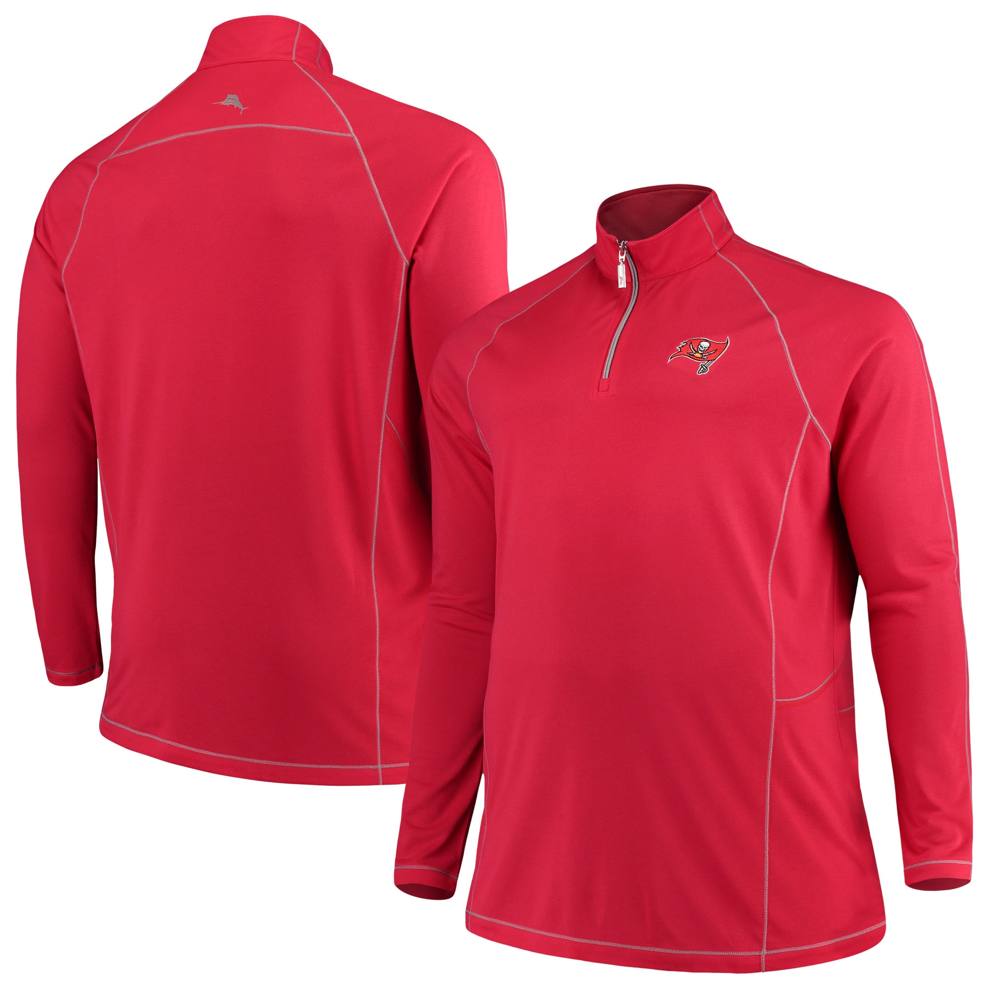 Tampa Bay Buccaneers Tommy Bahama Big & Tall Goal Keeper Raglan Quarter-Zip Pullover Sweater - Red