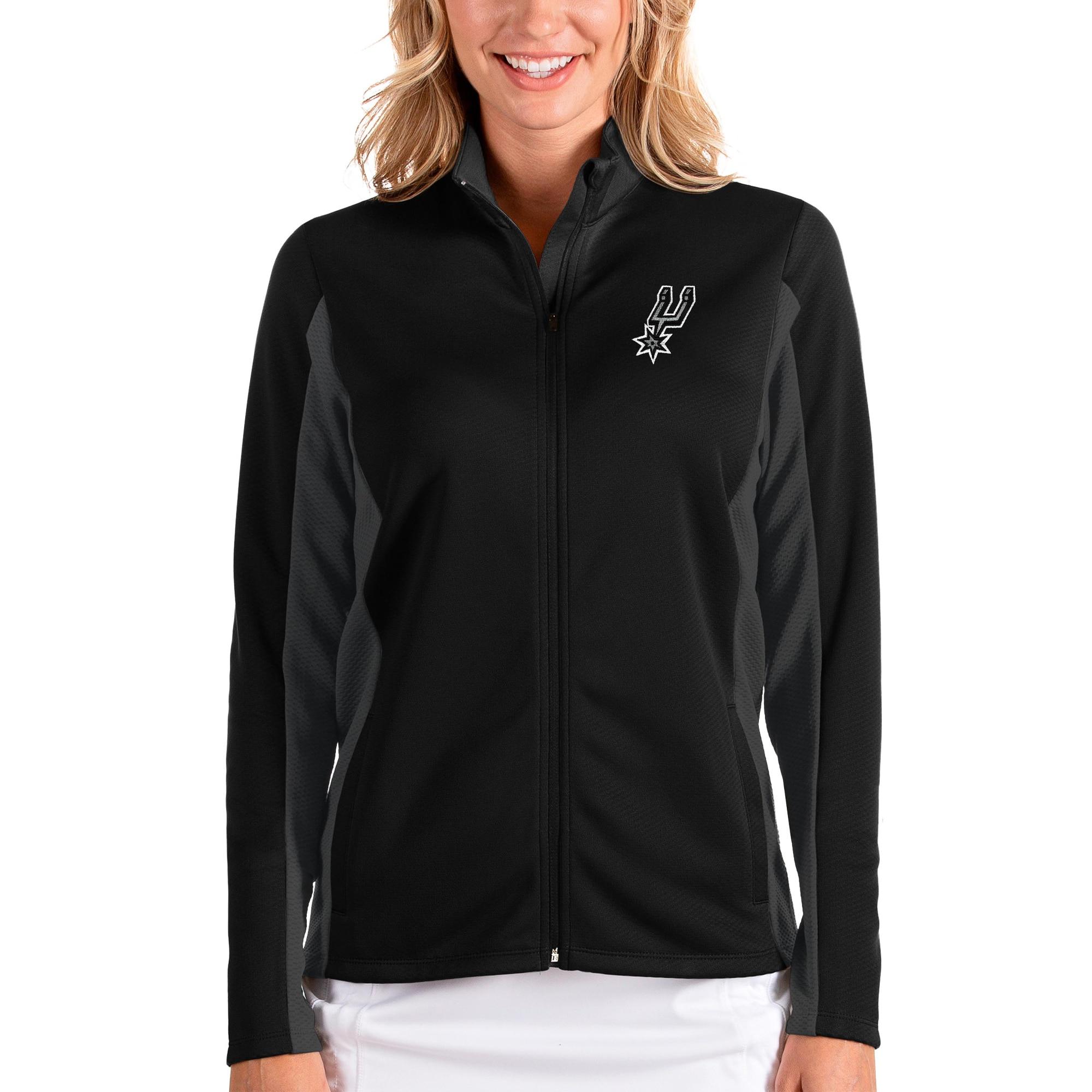 San Antonio Spurs Antigua Women's Passage Full-Zip Jacket - Black/Charcoal