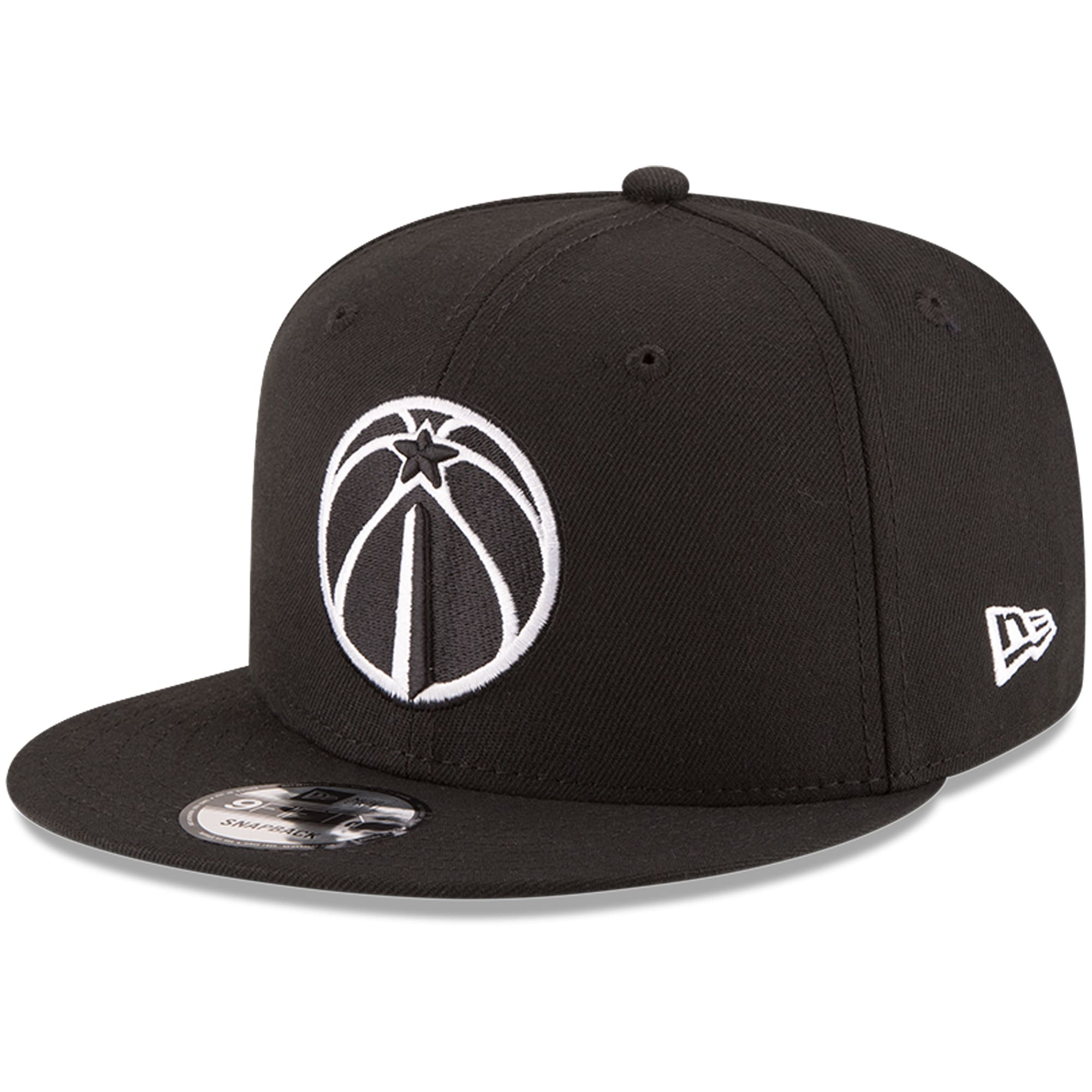Washington Wizards New Era Black & White Logo 9FIFTY Adjustable Snapback Hat - Black
