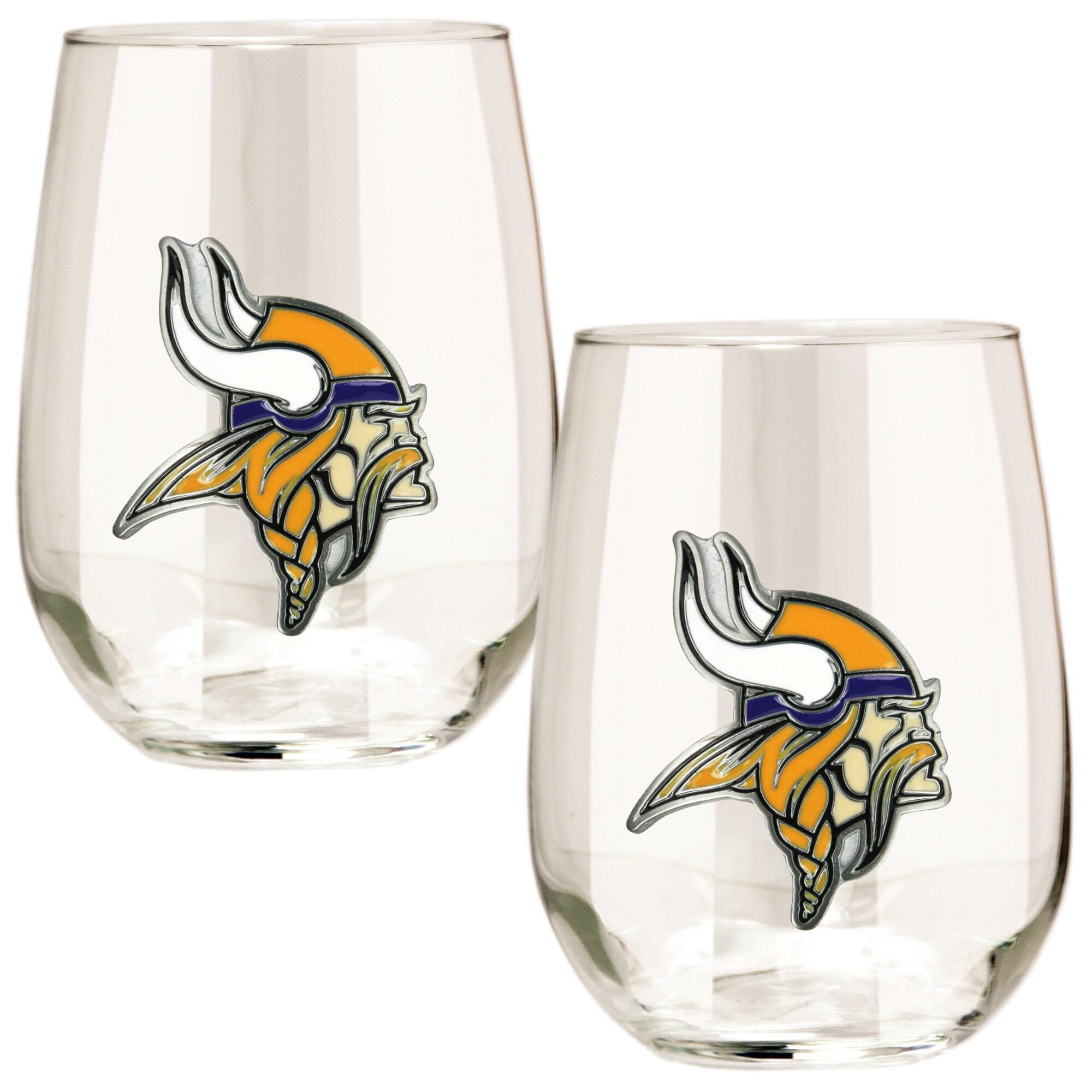 Minnesota Vikings 15oz. Stemless Wine Glass Set
