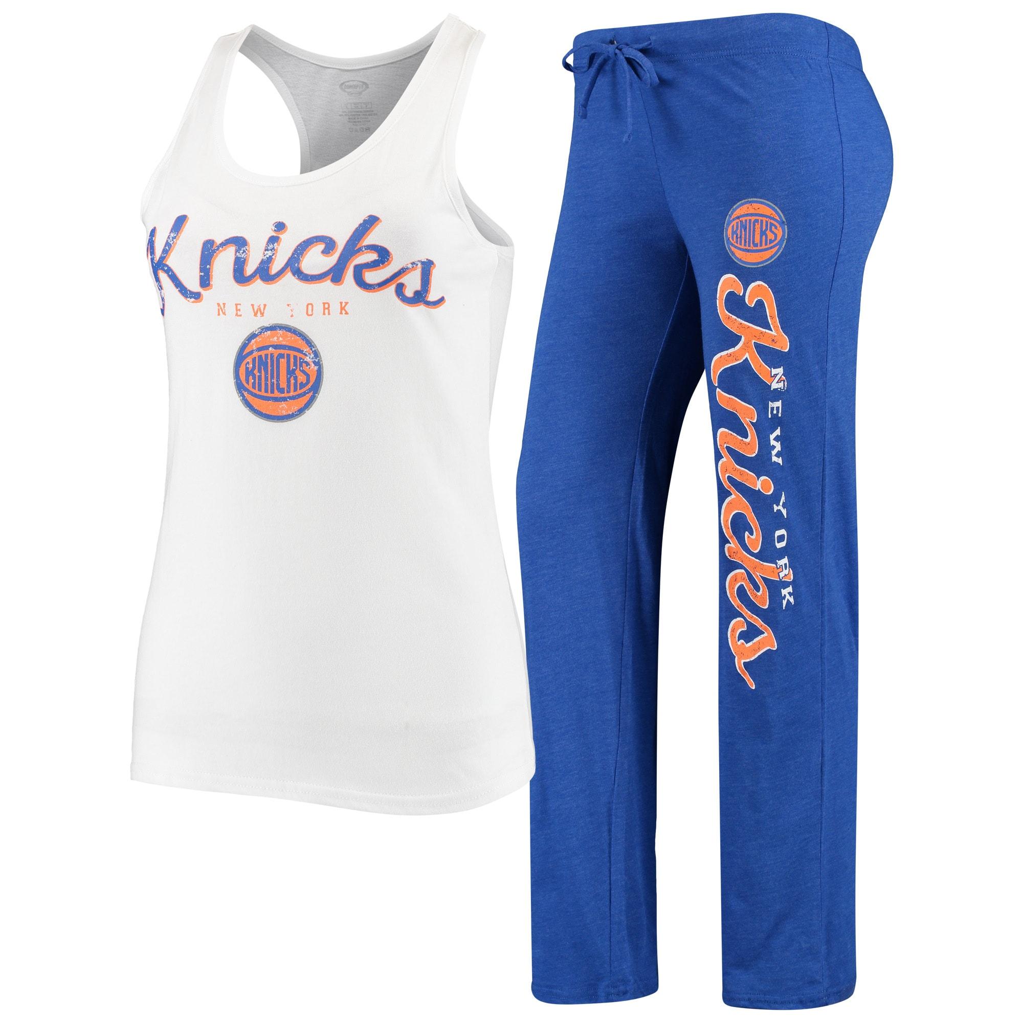 New York Knicks Concepts Sport Women's Topic Tank Top & Pants Sleep Set - White/Blue
