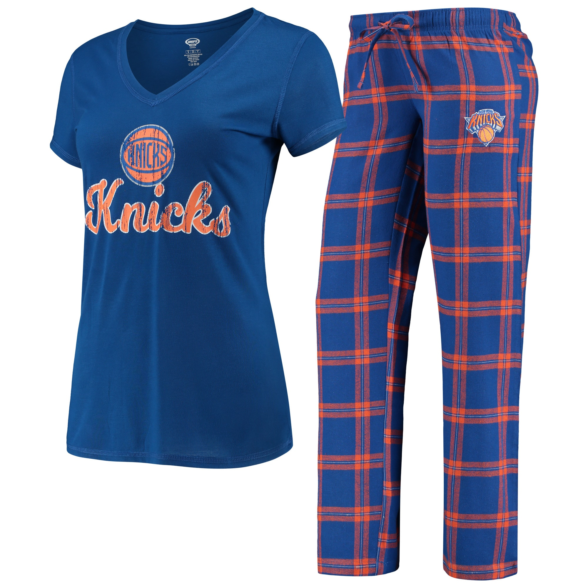 New York Knicks Concepts Sport Women's Troupe V-Neck T-Shirt & Pants Sleep Set - Blue