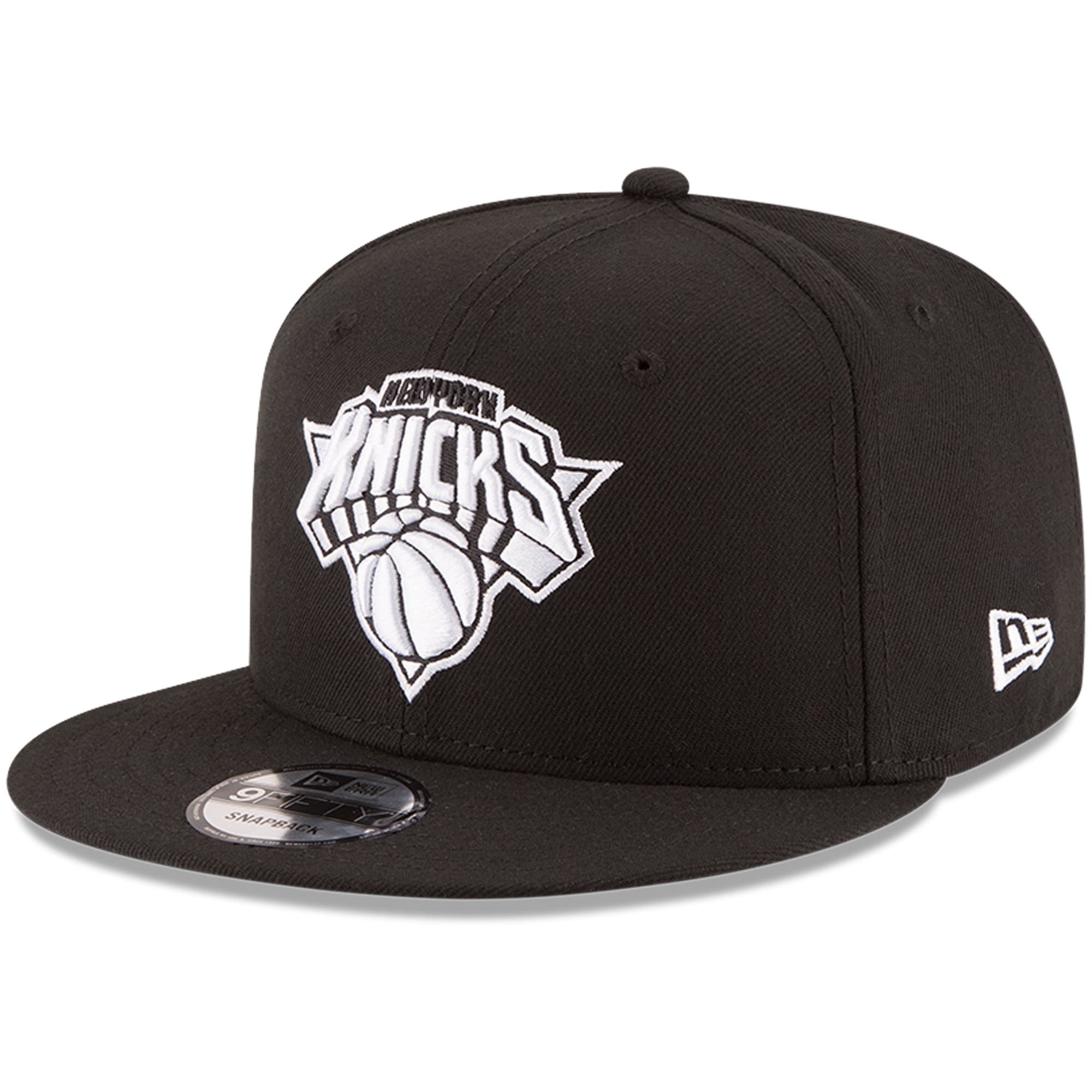 New York Knicks New Era Black & White Logo 9FIFTY Adjustable Snapback Hat - Black