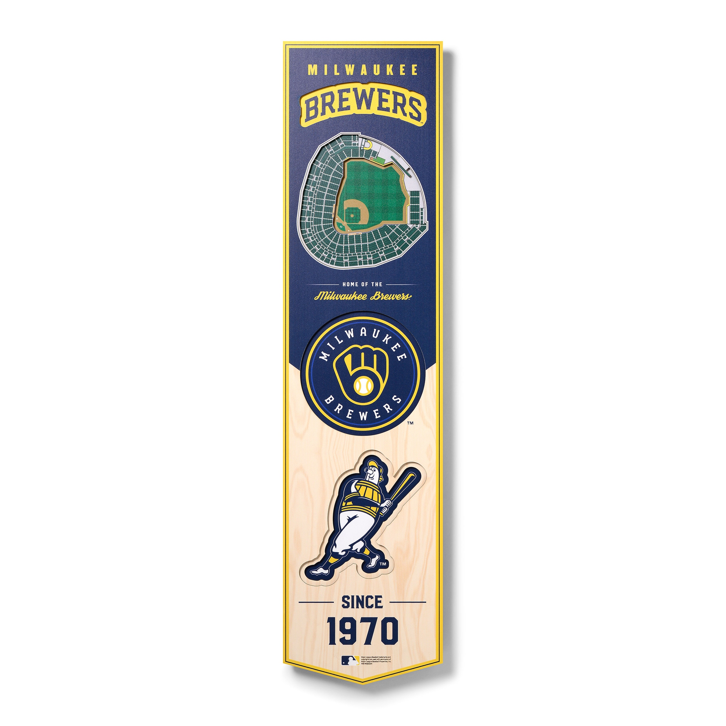 Milwaukee Brewers 8'' x 32'' 3D StadiumView Banner