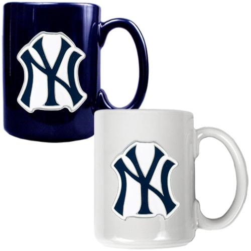 New York Yankees 15oz. Coffee Mug Set - Navy/White