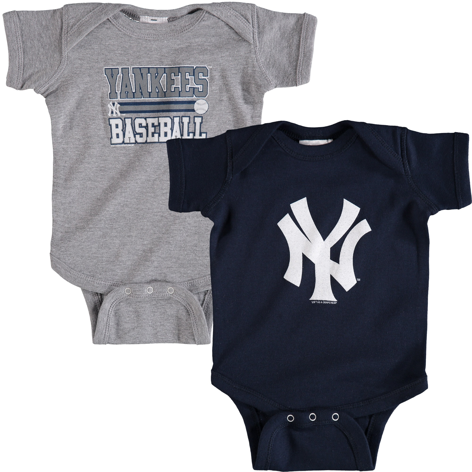 New York Yankees Soft as a Grape Newborn & Infant 2-Piece Body Suit - Navy/Gray