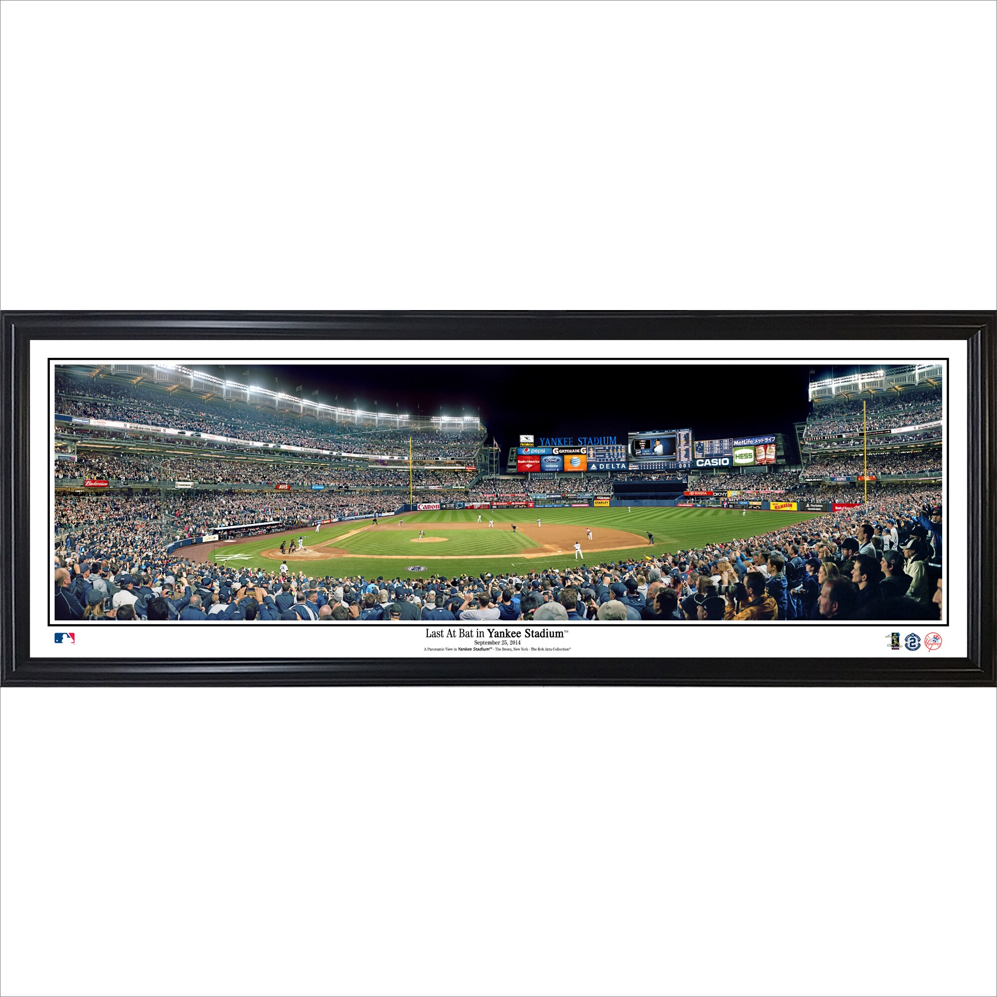 Derek Jeter New York Yankees Last At Bat at Yankee Stadium Standard Framed Panorama