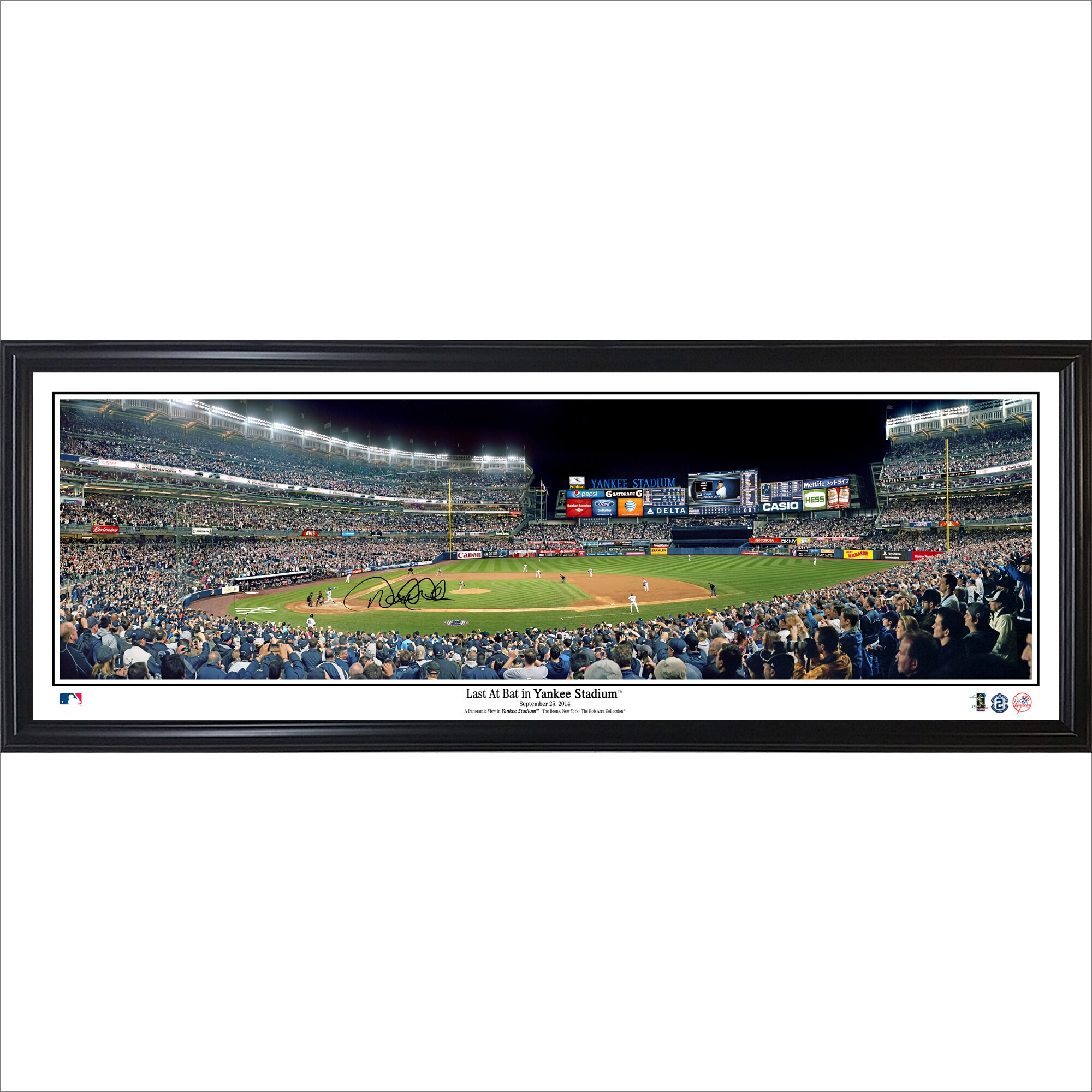 Derek Jeter New York Yankees 39'' x 13.5'' Last At Bat at Yankee Stadium Standard Framed Facsimile Signed Panorama