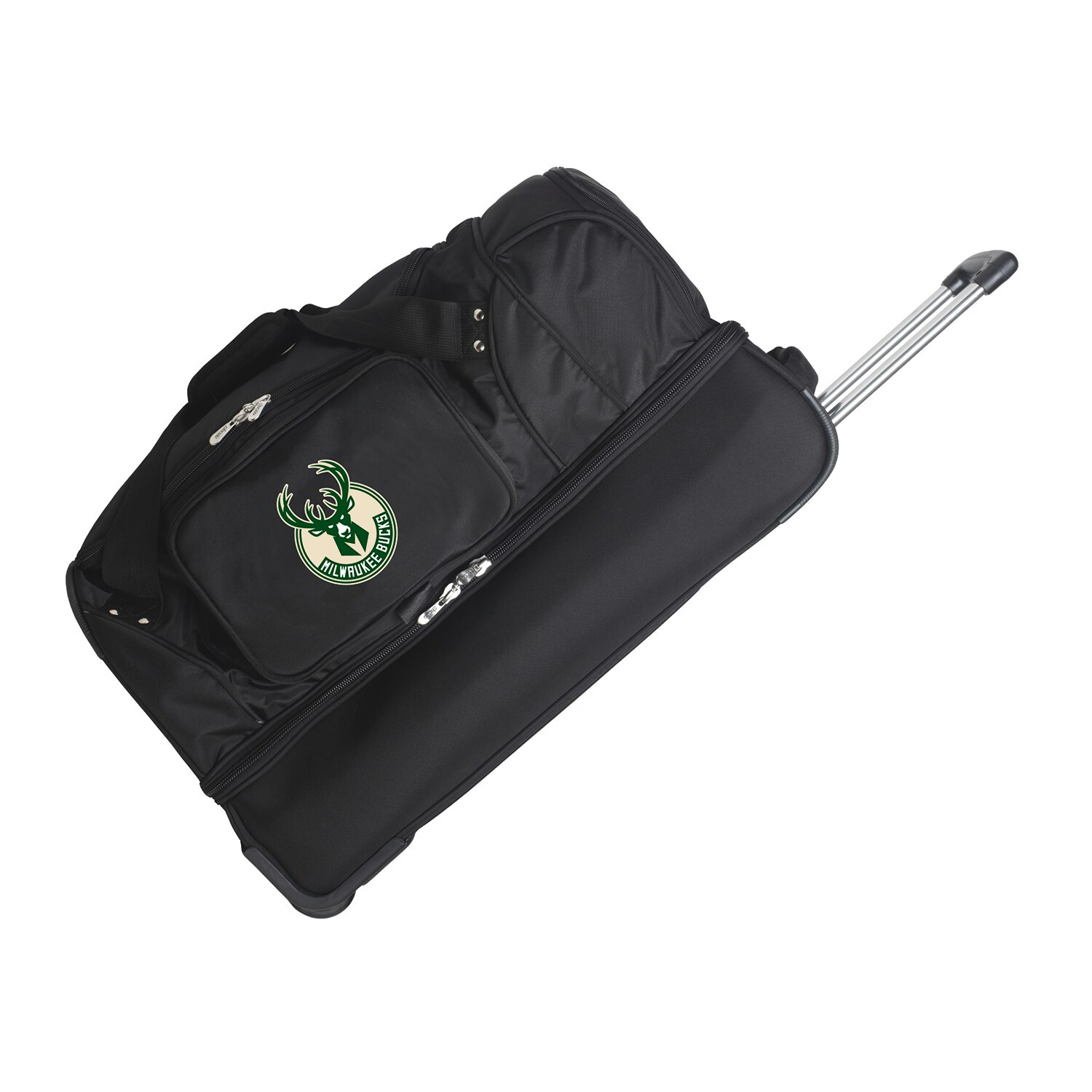 "Milwaukee Bucks 27"" 2-Wheel Rolling Drop Bottom Duffel Bag - Black"