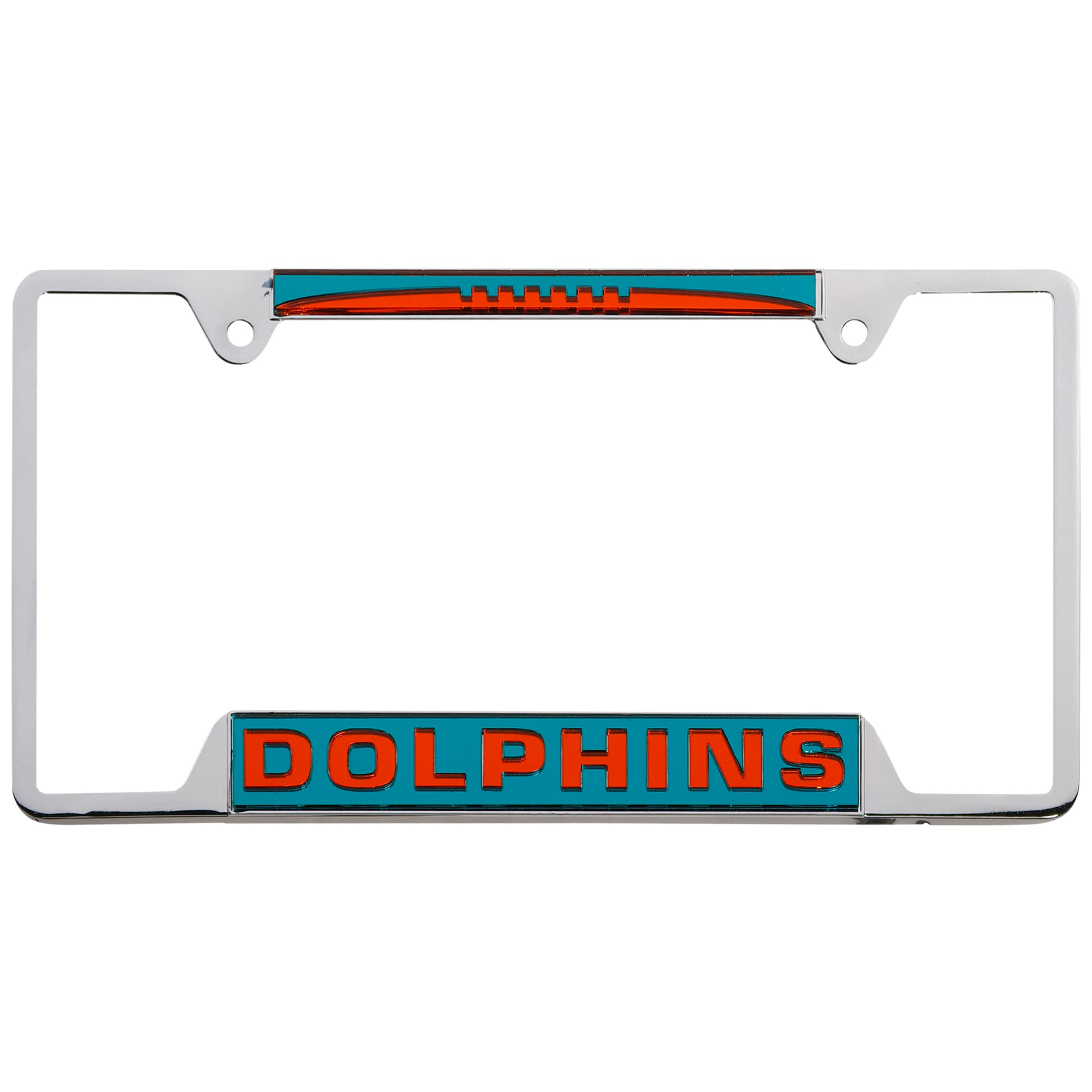 Miami Dolphins WinCraft 4-Tab Style Inlaid Metal License Plate Frame