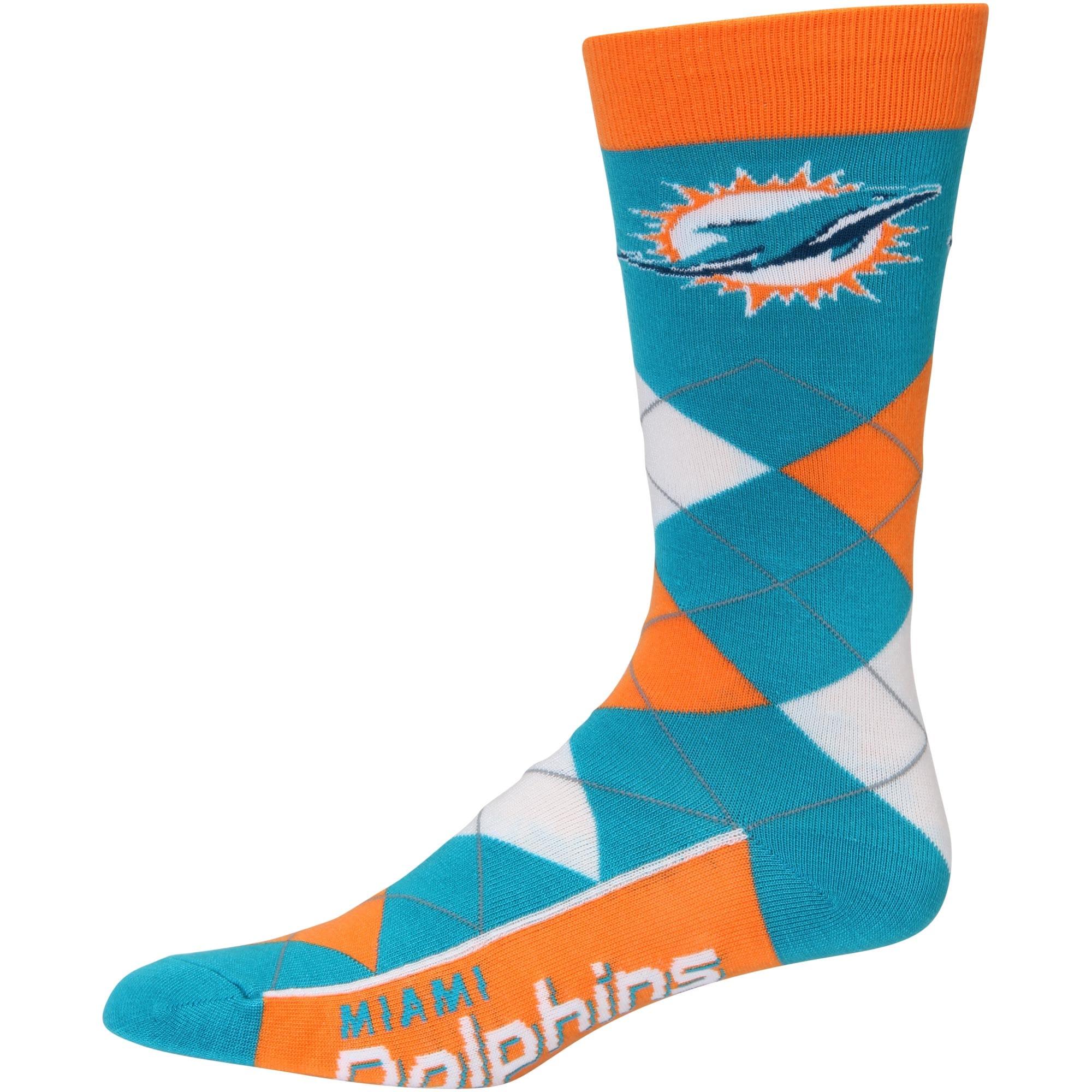 Miami Dolphins For Bare Feet Argyle Crew Socks