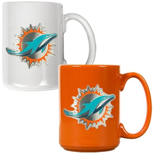 Miami Dolphins 15oz. Coffee Mug Set