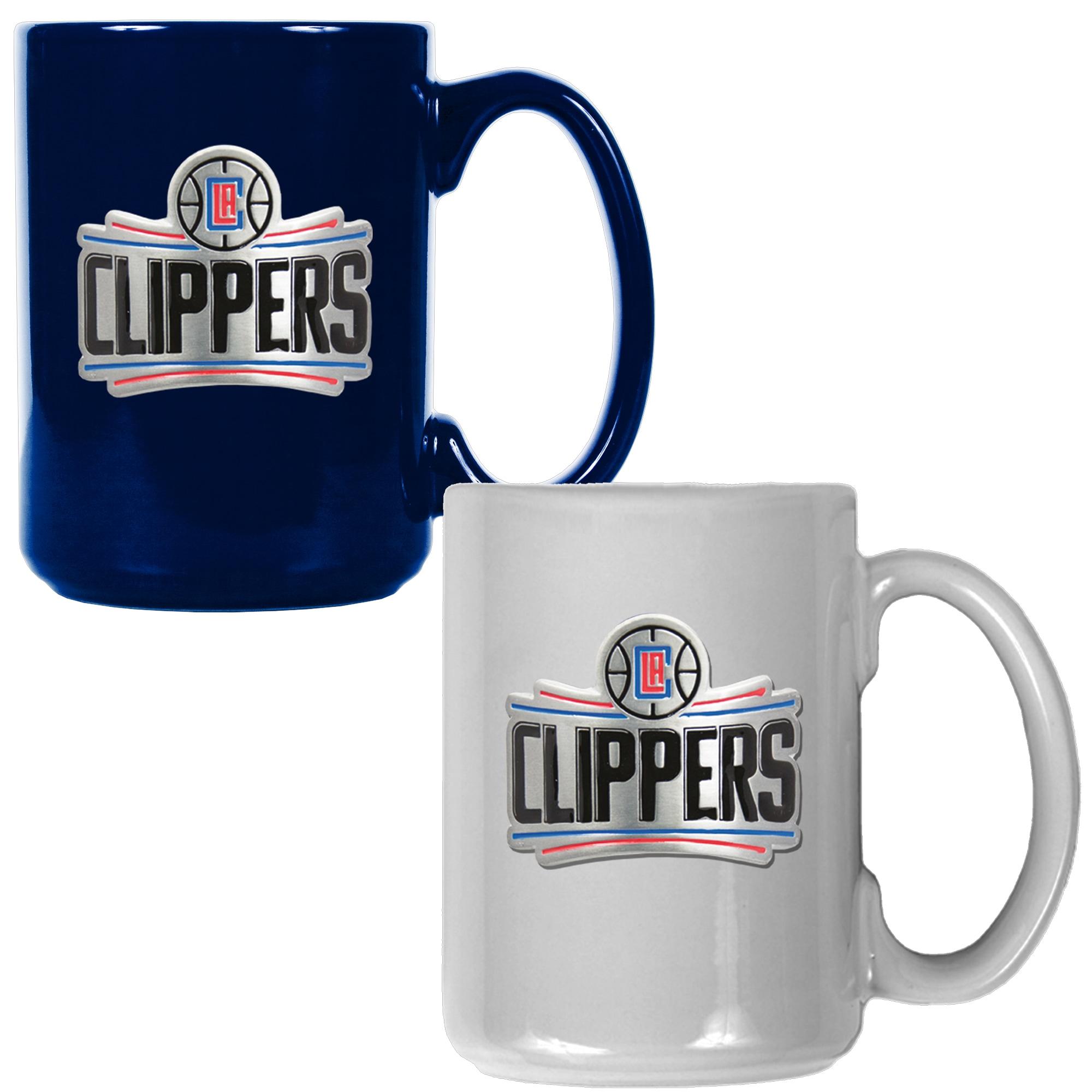 LA Clippers 15oz. Coffee Mug Set - Royal/White