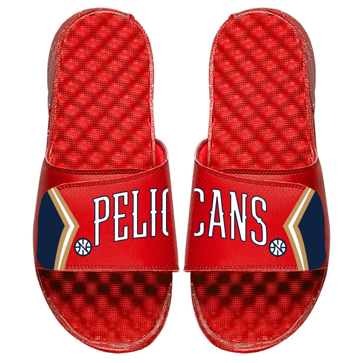 New Orleans Pelicans ISlide Statement Jersey Split Slide Sandals - Red