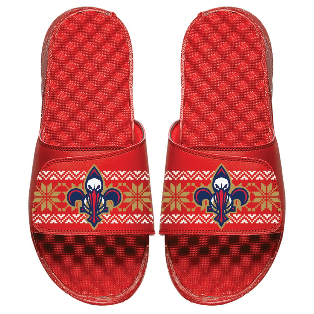 New Orleans Pelicans ISlide Ugly Sweater Slide Sandals - Red