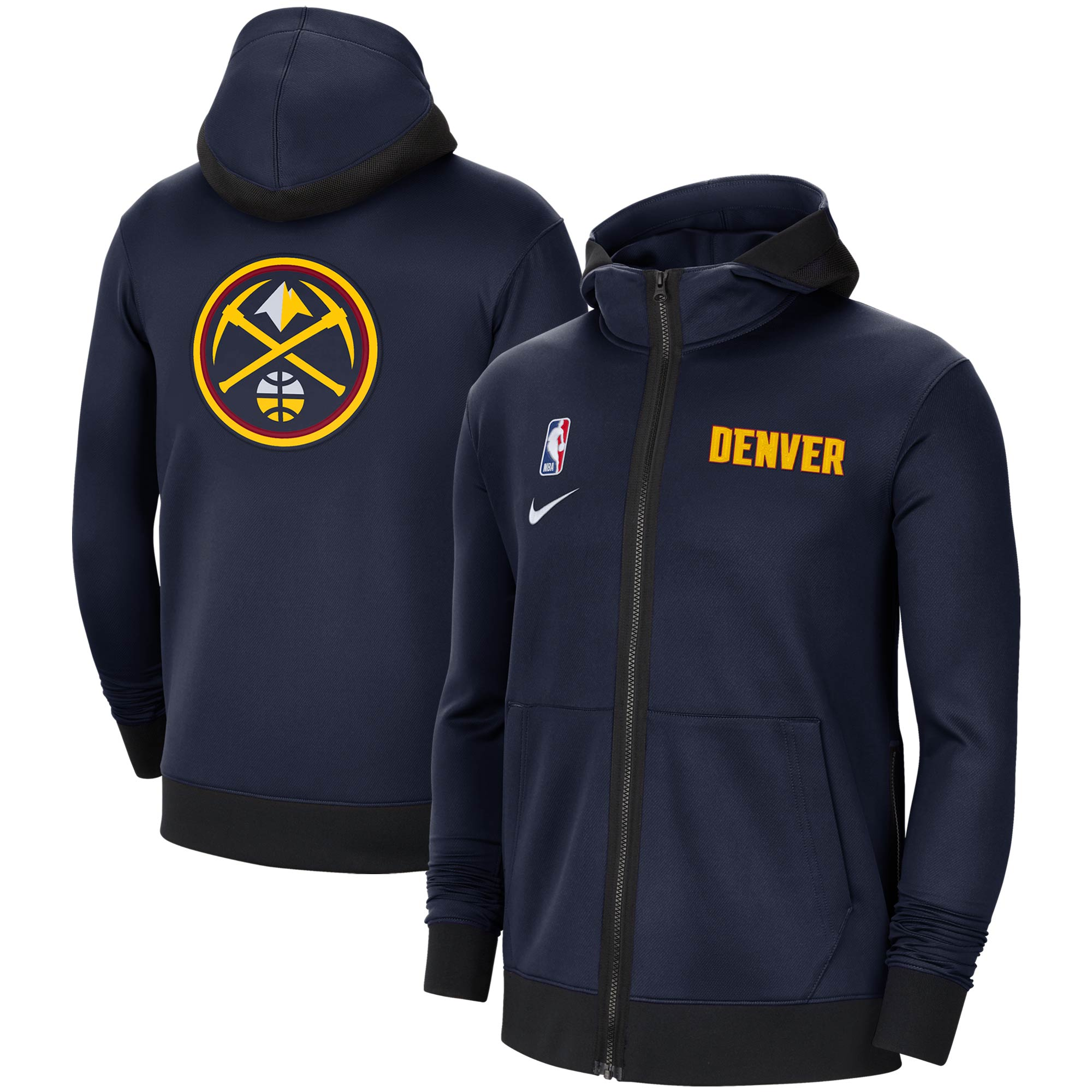 Denver Nuggets Nike Authentic Showtime Performance Full-Zip Hoodie Jacket - Navy