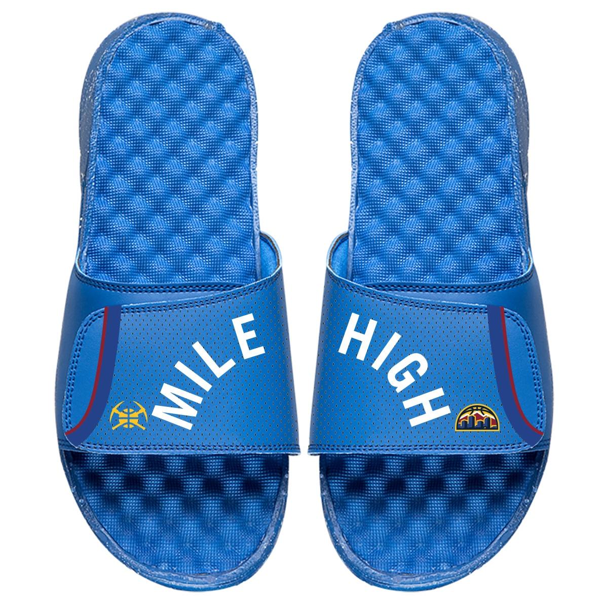 Denver Nuggets ISlide Statement Jersey Split Slide Sandals - Royal