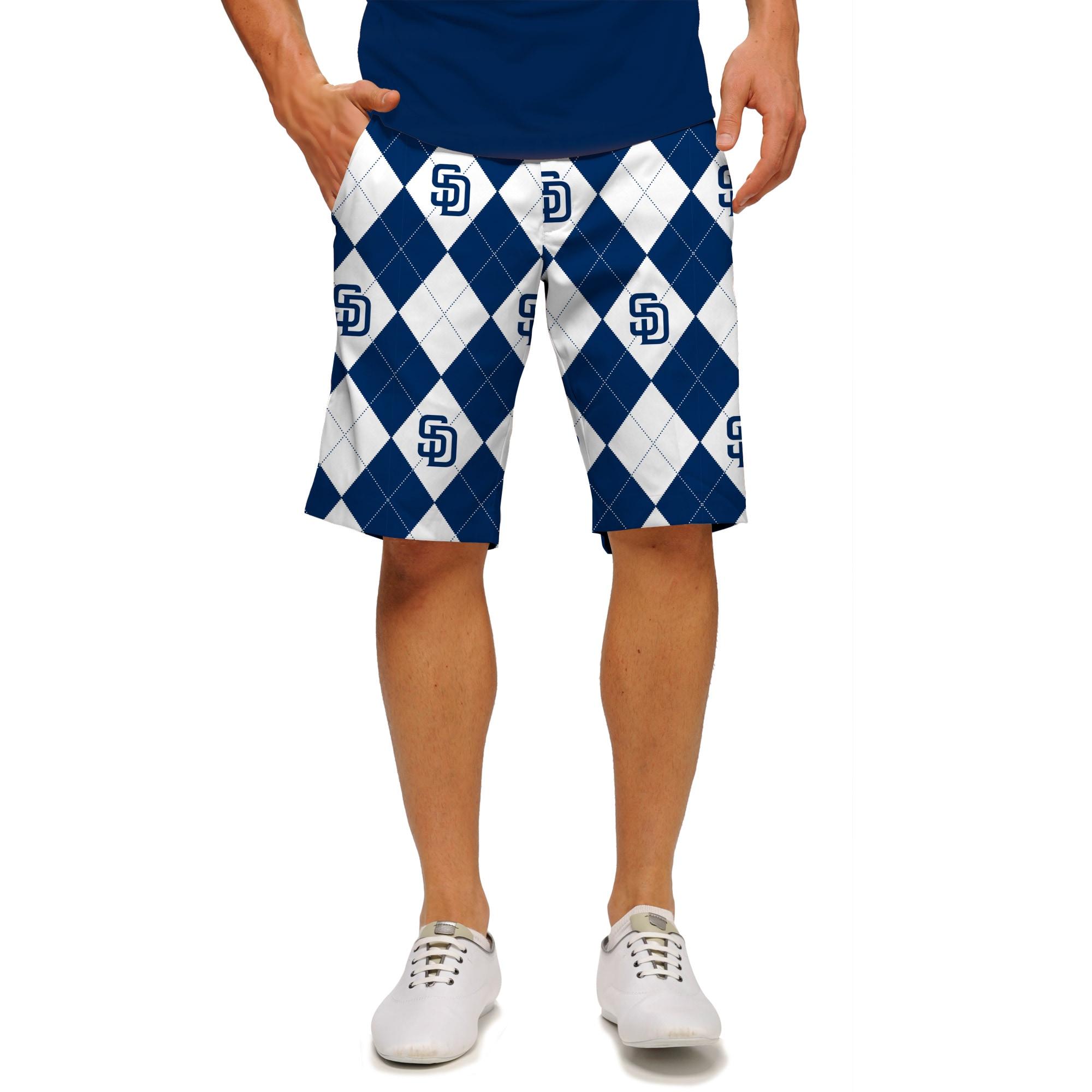 San Diego Padres Loudmouth Argyle Shorts - Navy/White