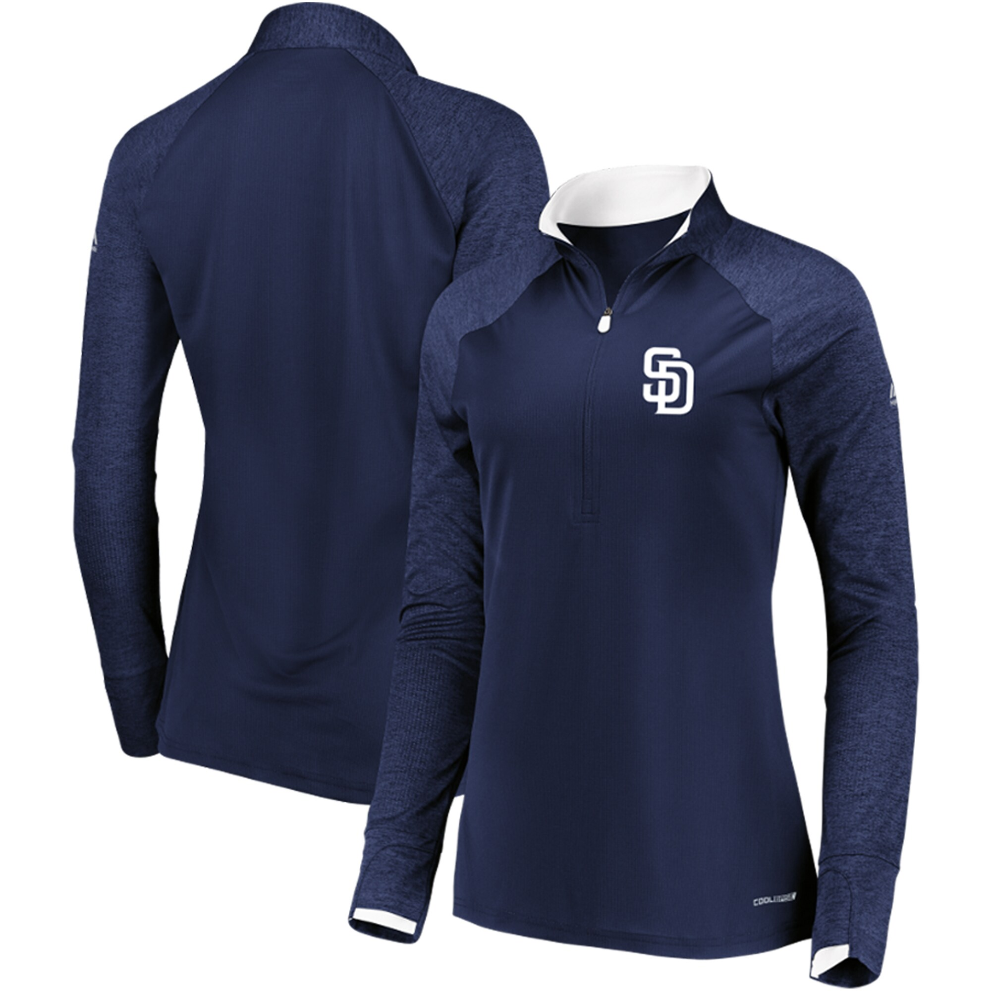 San Diego Padres Majestic Women's Extremely Clear Cool Base Raglan 1/2-Zip Jacket - Navy