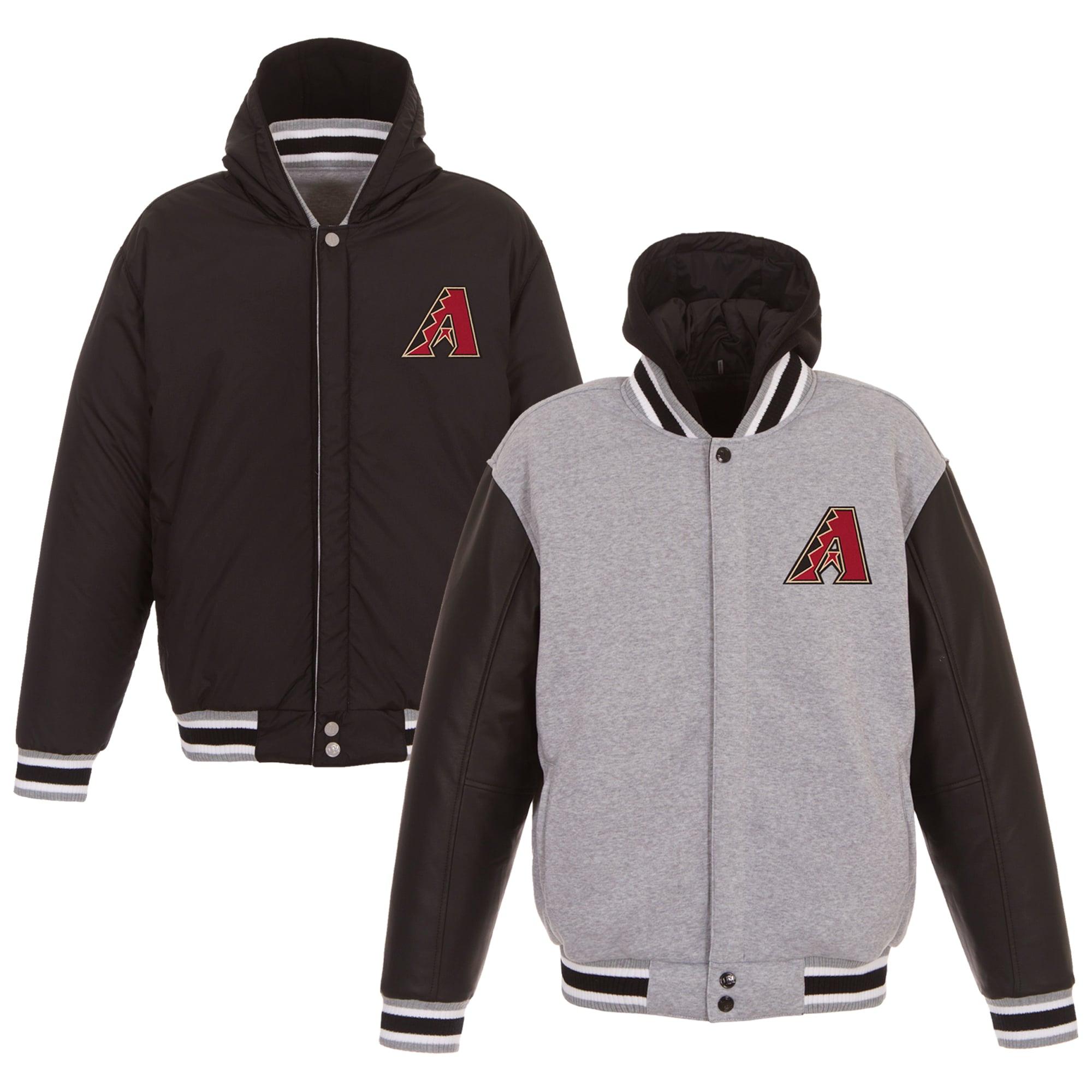 Arizona Diamondbacks JH Design Heavyweight Reversible Full Snap Hoodie - Gray