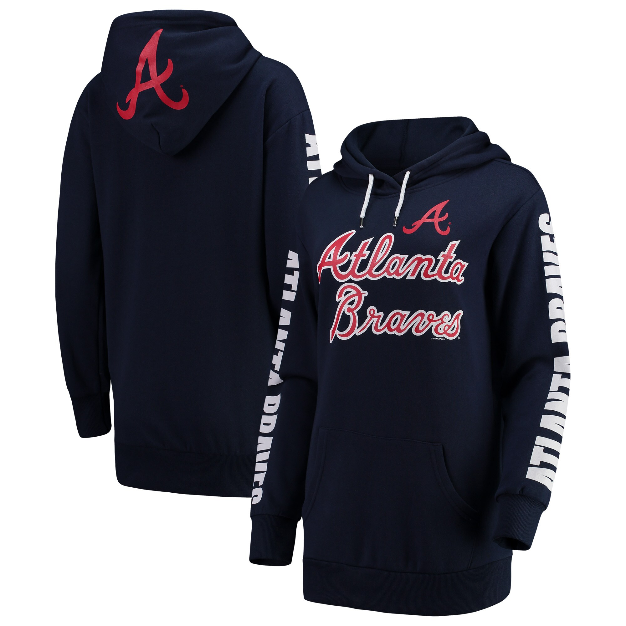 Atlanta Braves G-III 4Her by Carl Banks Women's Extra Innings Pullover Hoodie - Navy
