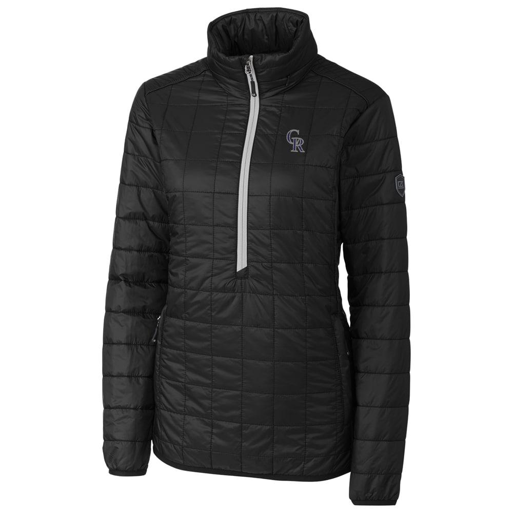 Colorado Rockies Cutter & Buck Women's Rainier Half-Zip Popover Jacket - Black
