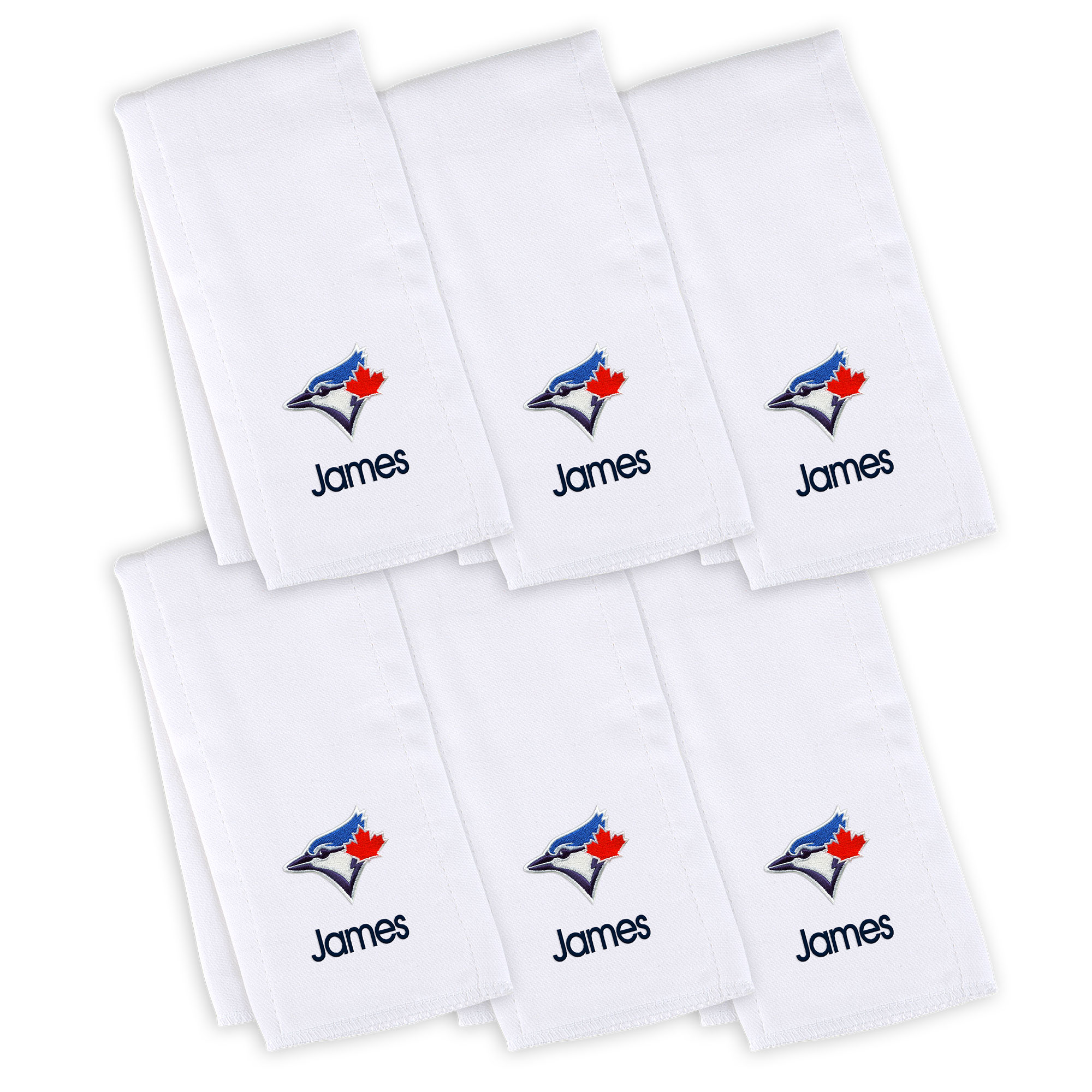 Toronto Blue Jays Infant Personalized Burp Cloth 6-Pack - White