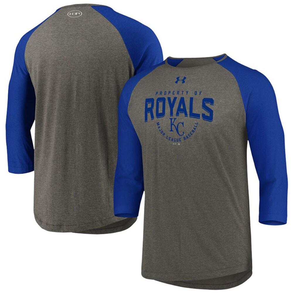 Kansas City Royals Under Armour Tri-Blend Raglan 3/4-Sleeve Performance T-Shirt - Gray/Royal