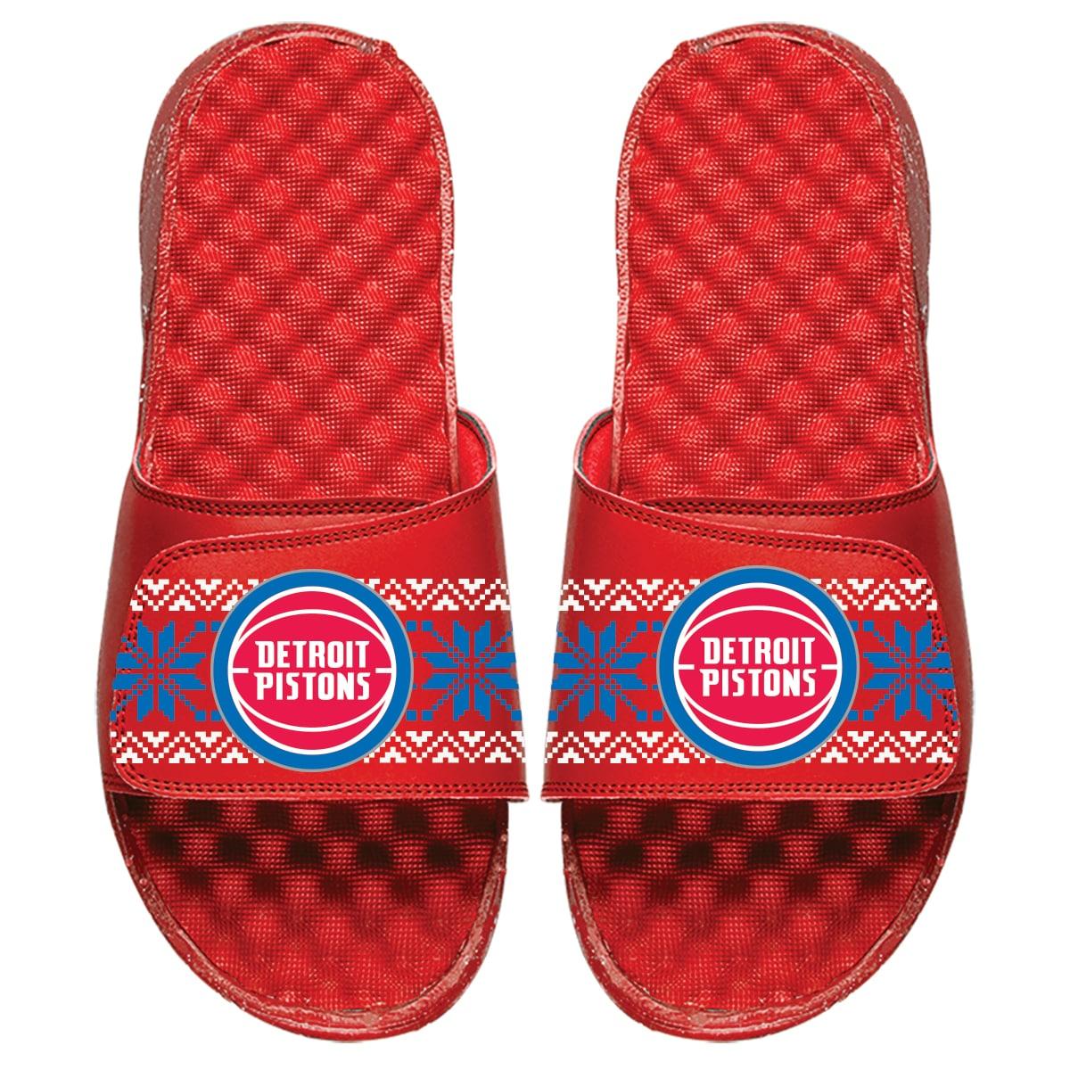 Detroit Pistons ISlide Ugly Sweater Slide Sandals - Red