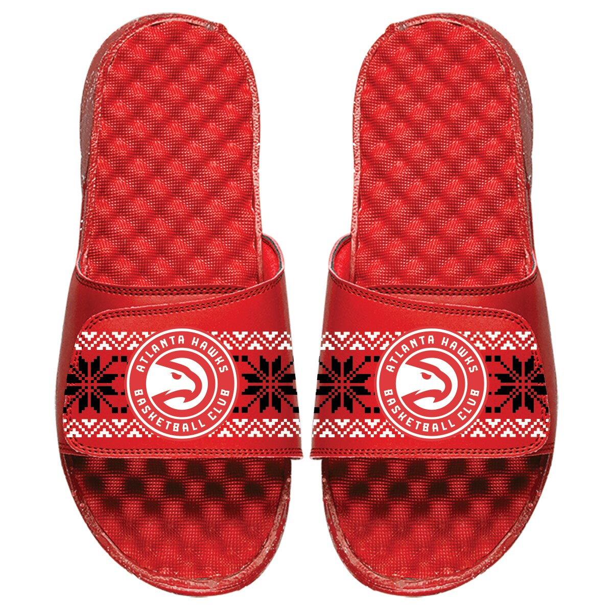Atlanta Hawks ISlide Ugly Sweater Slide Sandals - Red