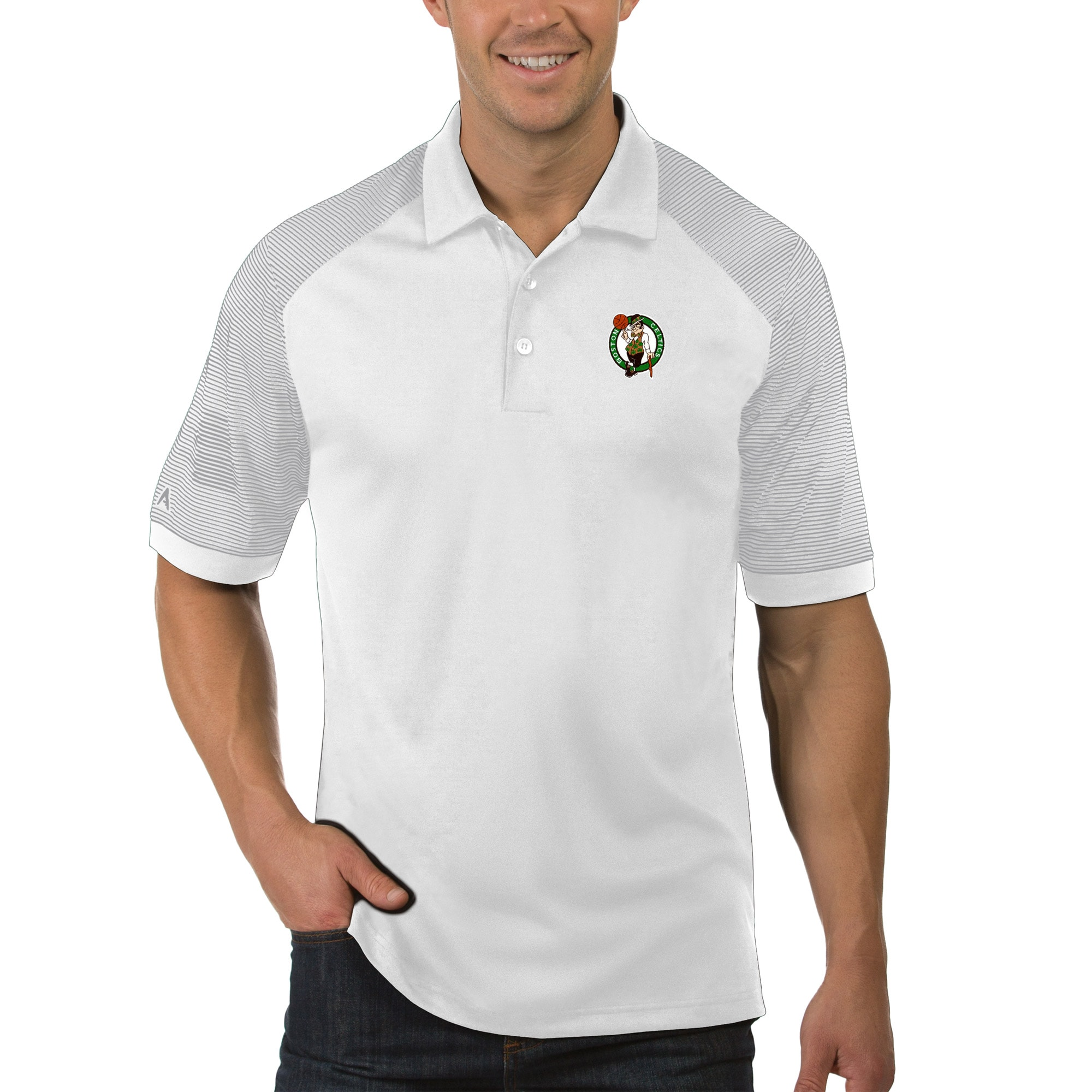 Boston Celtics Antigua Engage Polo - White
