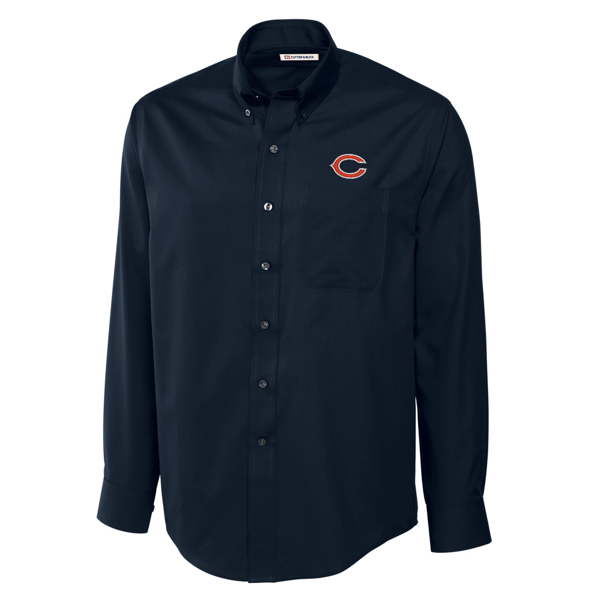 Chicago Bears Cutter & Buck Big & Tall Epic Easy Care Woven Long Sleeve Shirt - Navy